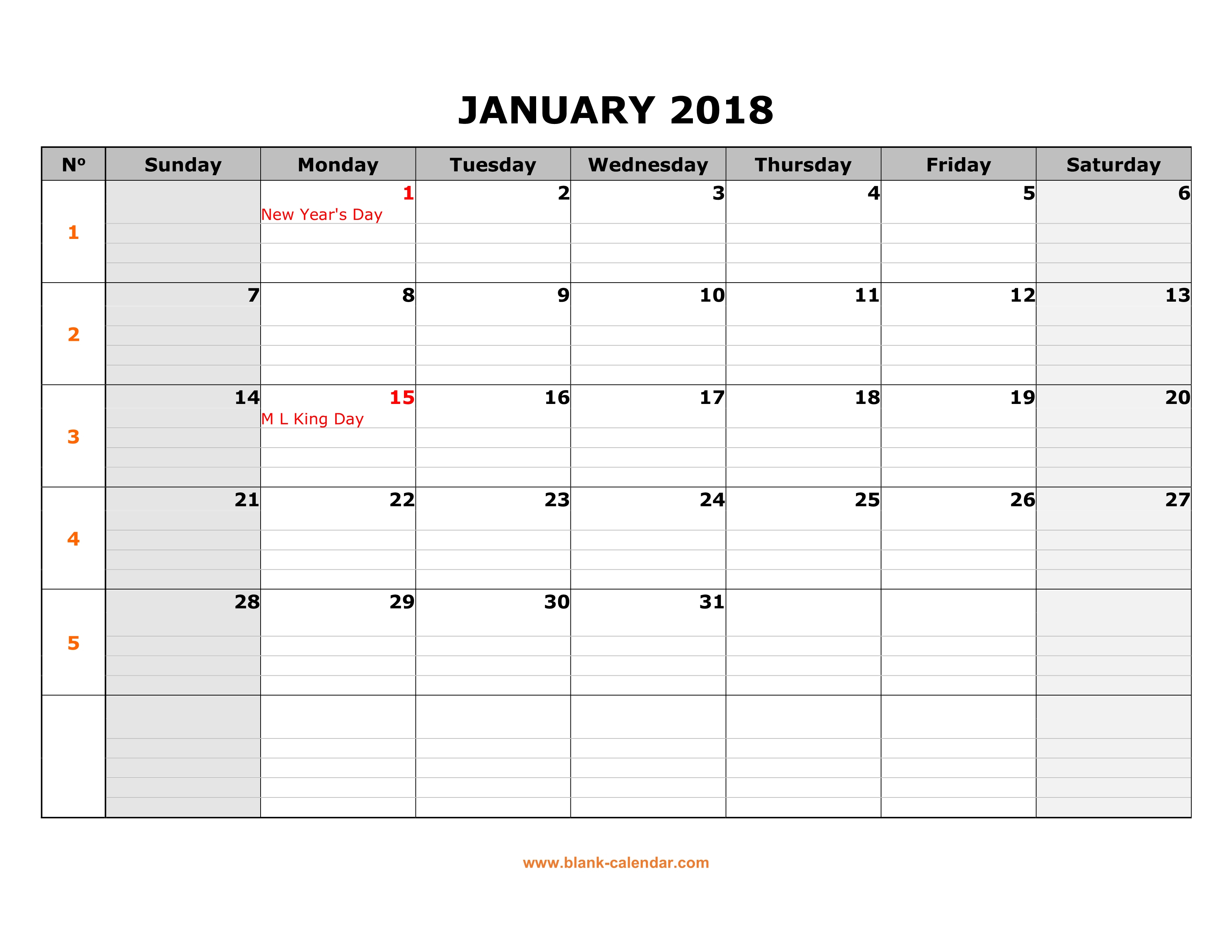 Free Download Printable Calendar 2018, Large Box Grid, Space