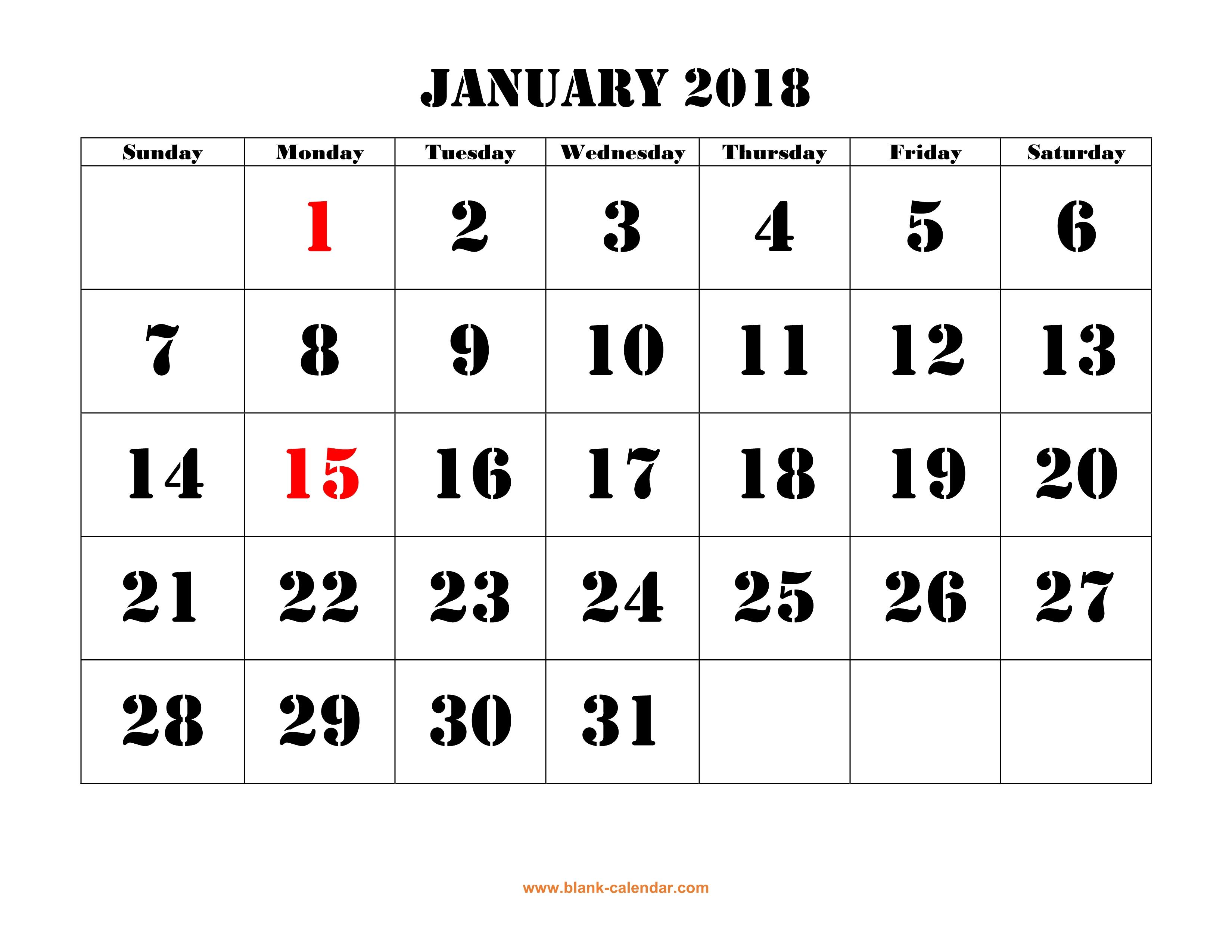 Free Download Printable Calendar 2018, Large Font Design