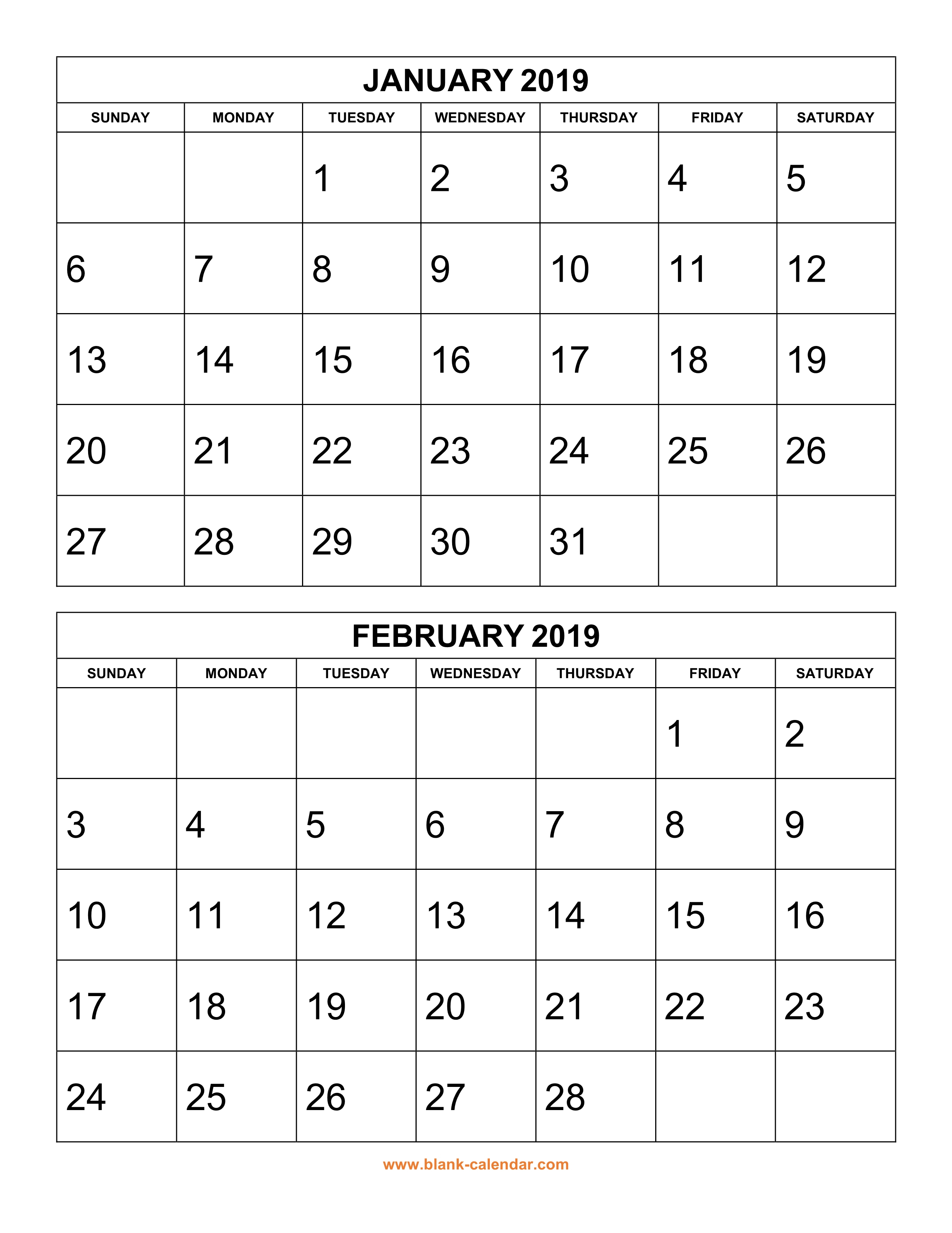 Free Download Printable Calendar 2019, 2 Months Per Page, 6