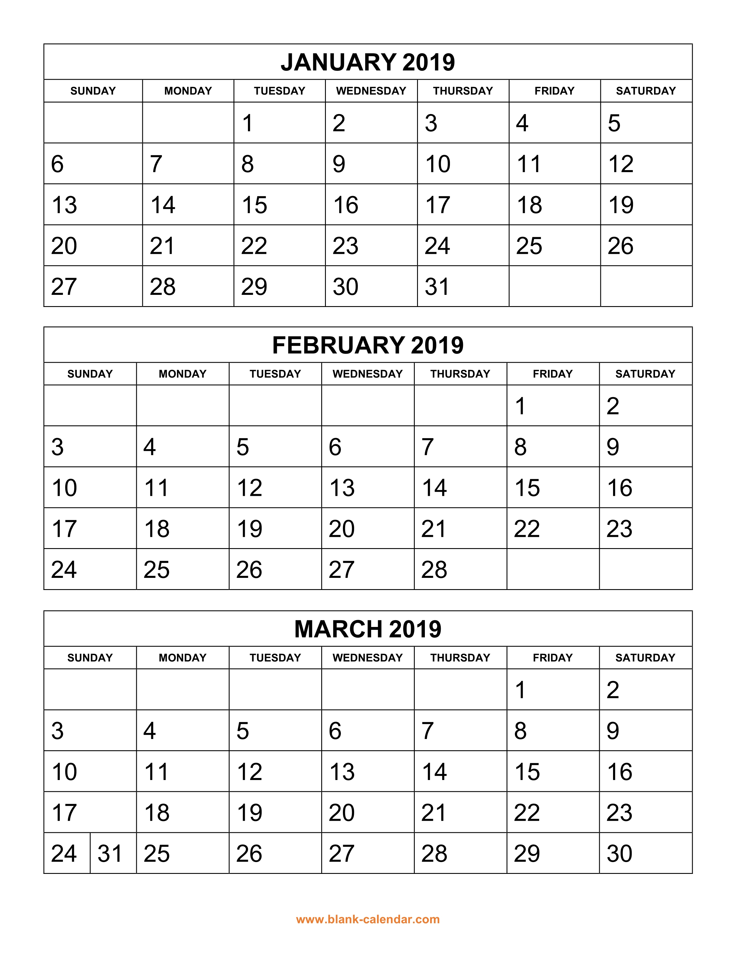 Free Download Printable Calendar 2019, 3 Months Per Page, 4