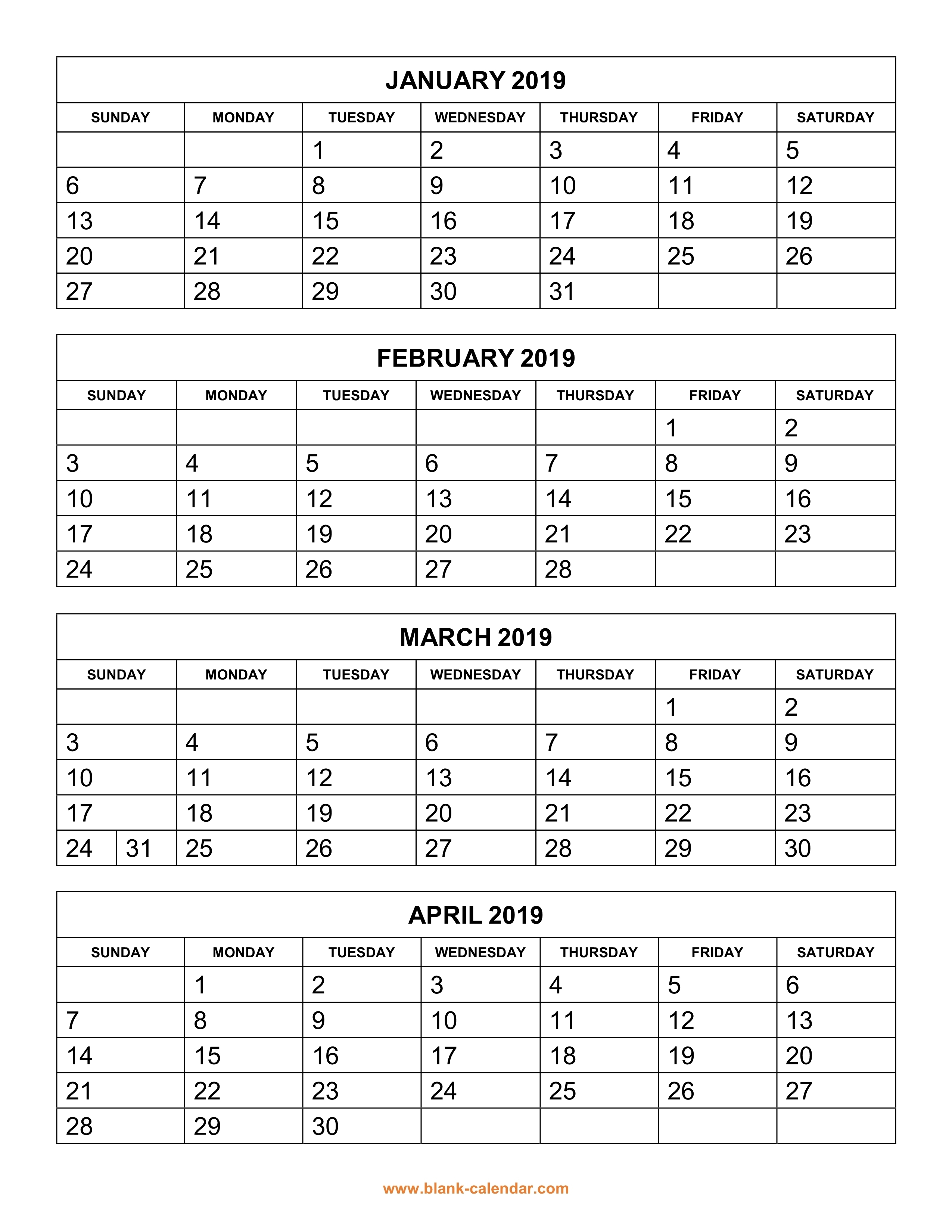 Free Download Printable Calendar 2019, 4 Months Per Page, 3