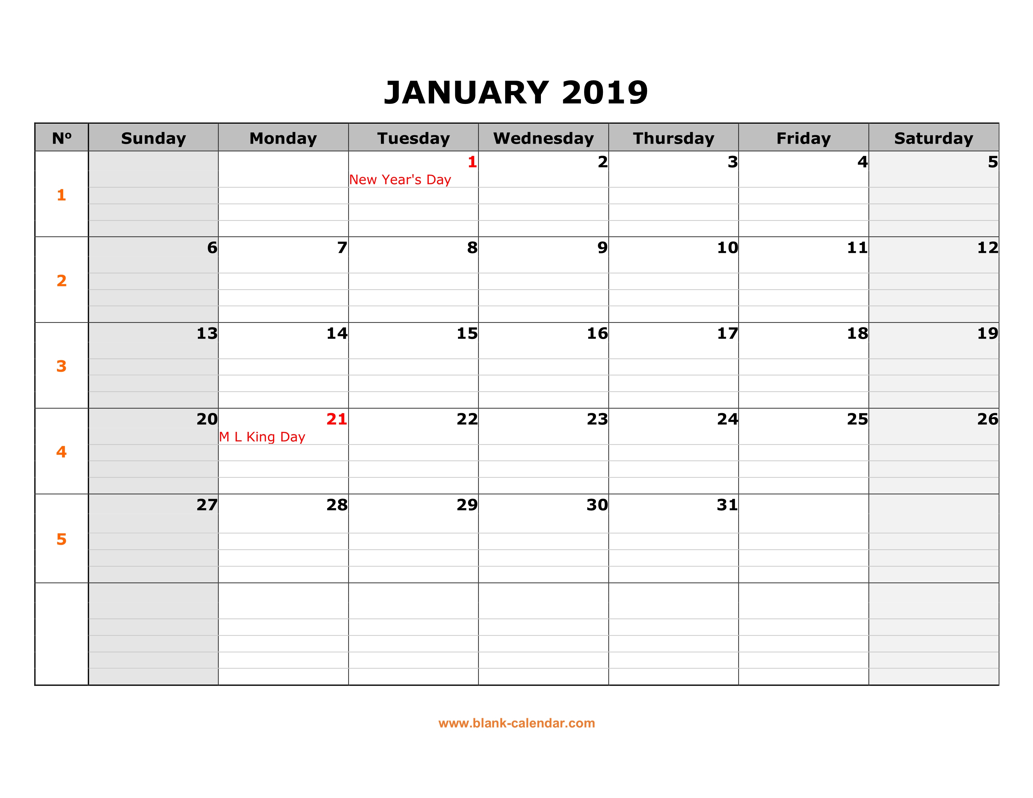 Free Download Printable Calendar 2019, Large Box Grid, Space
