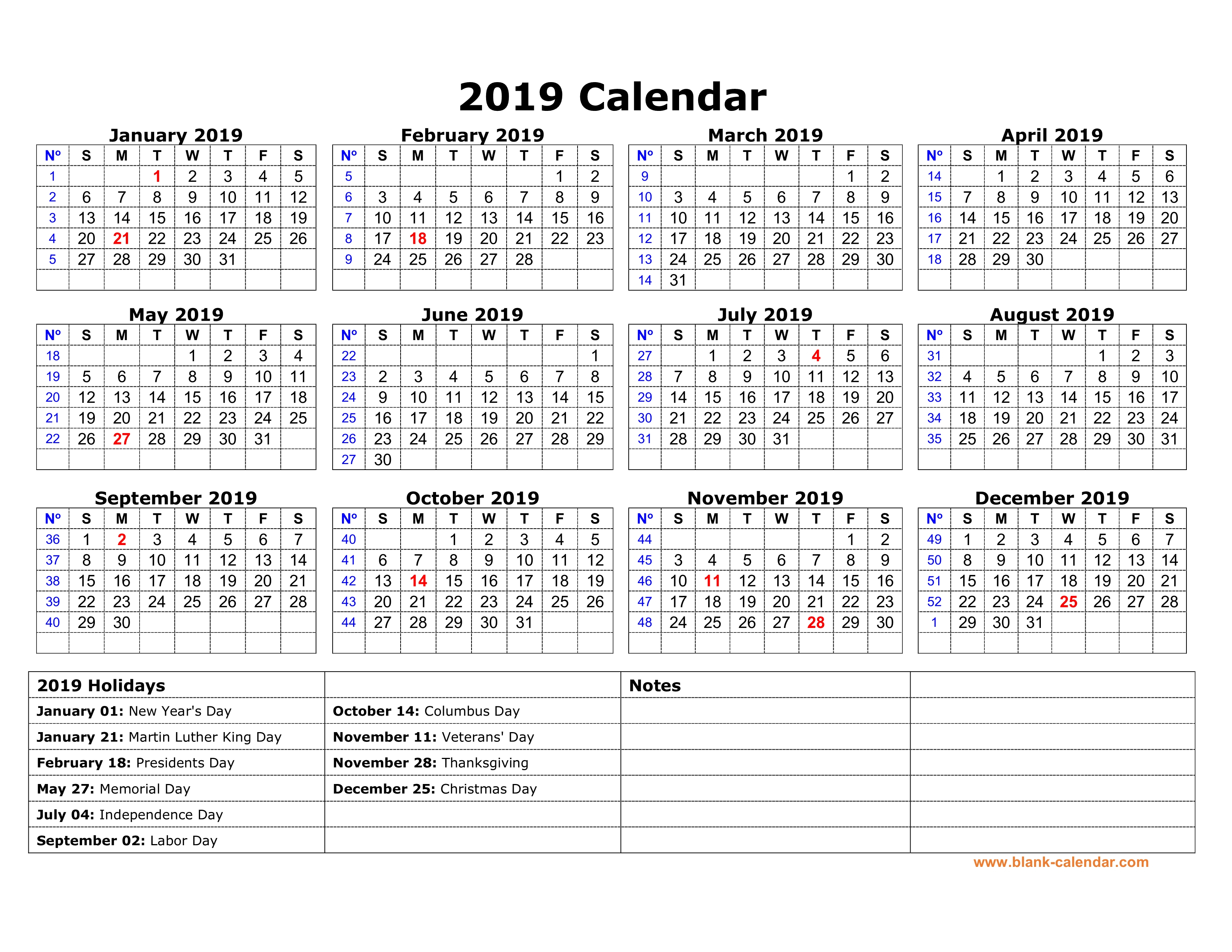 Free Download Printable Calendar 2019 With Us Federal