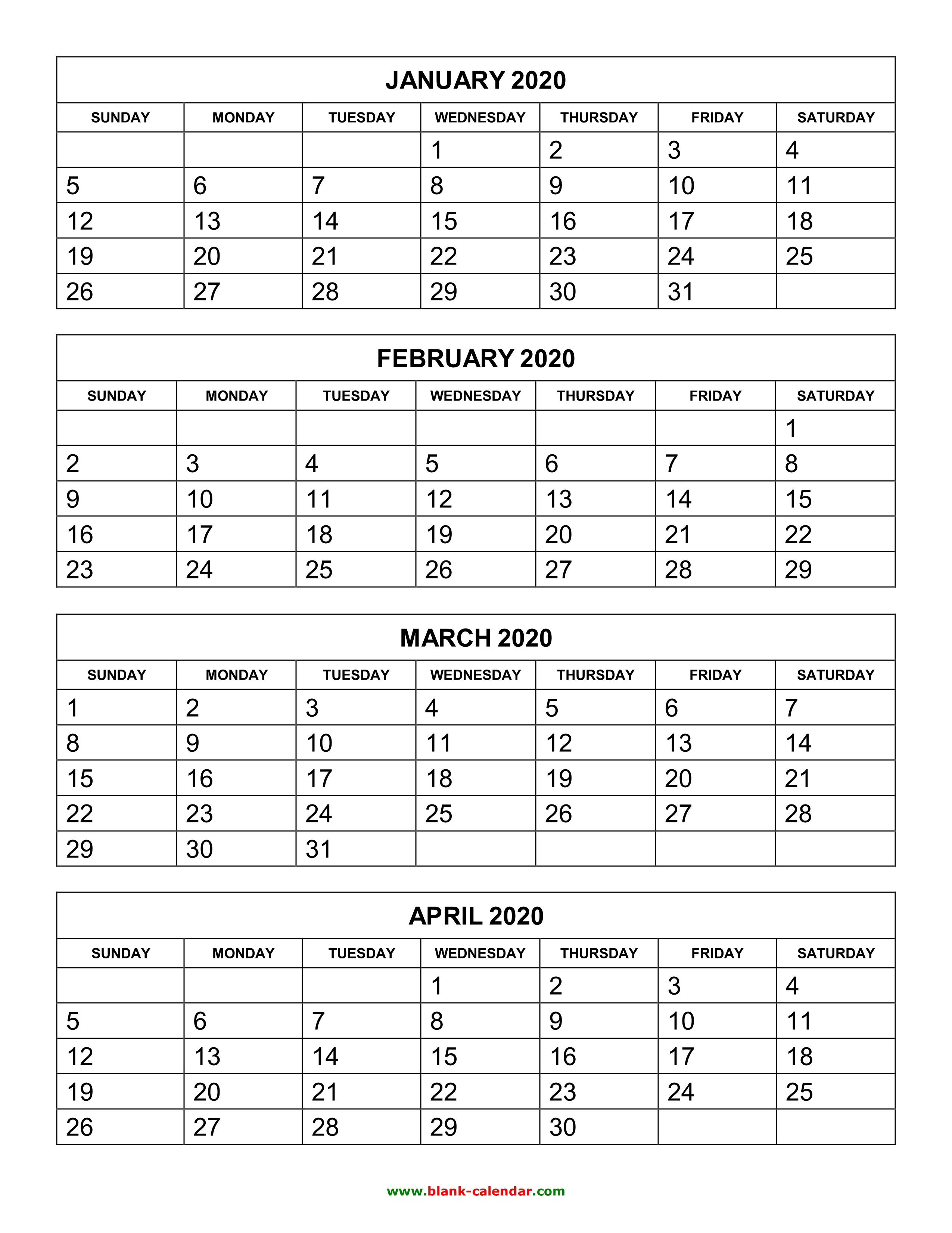 Free Download Printable Calendar 2020, 4 Months Per Page, 3
