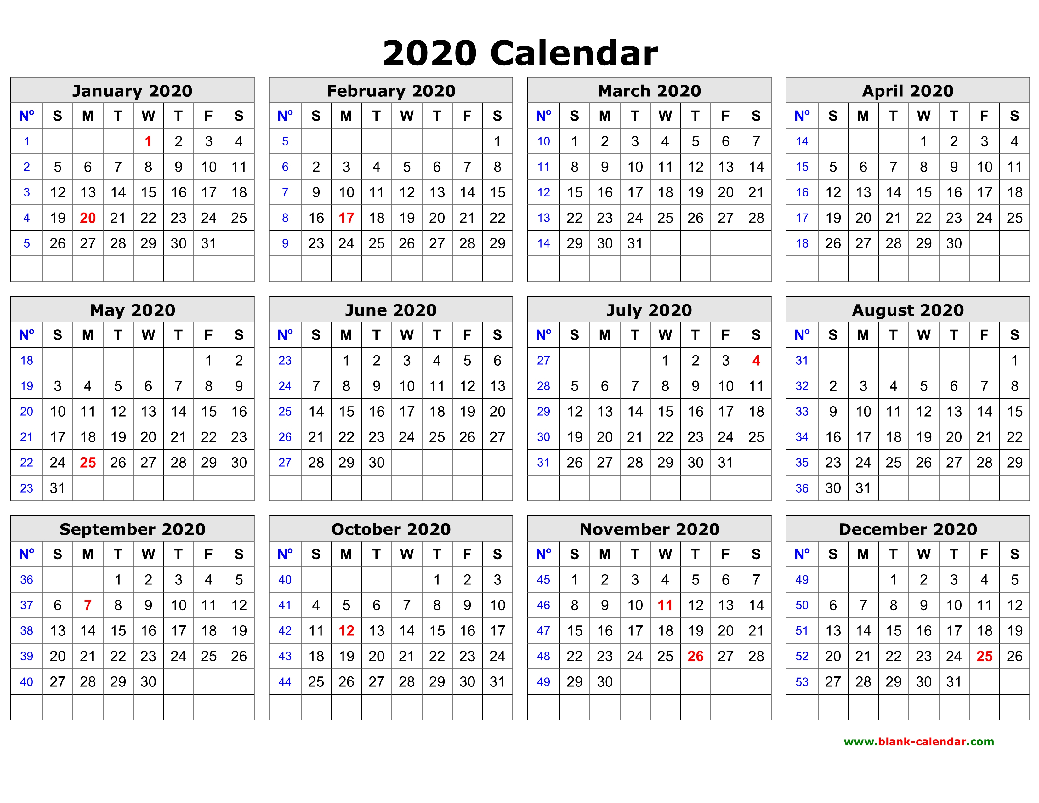 Free Download Printable Calendar 2020 In One Page, Clean Design.