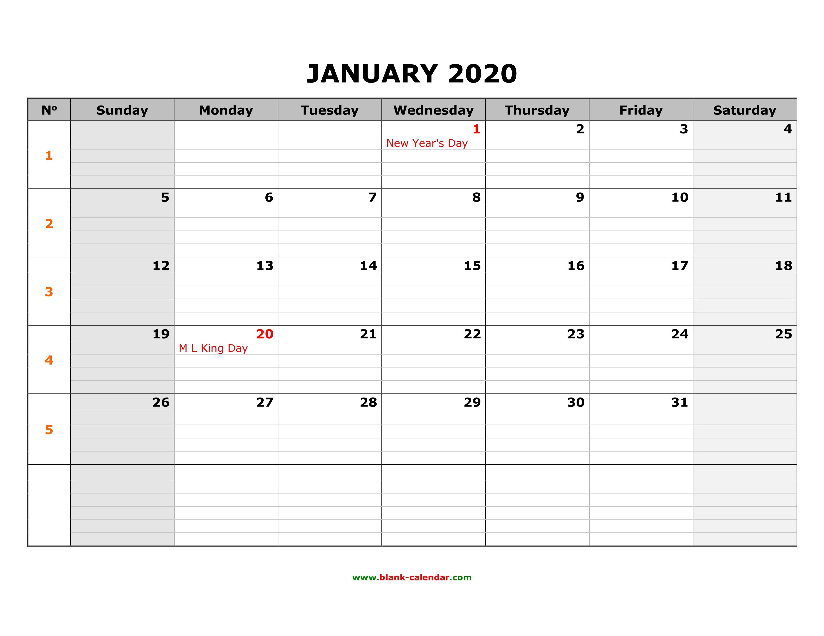 Free Download Printable Calendar 2020, Large Box Grid, Space