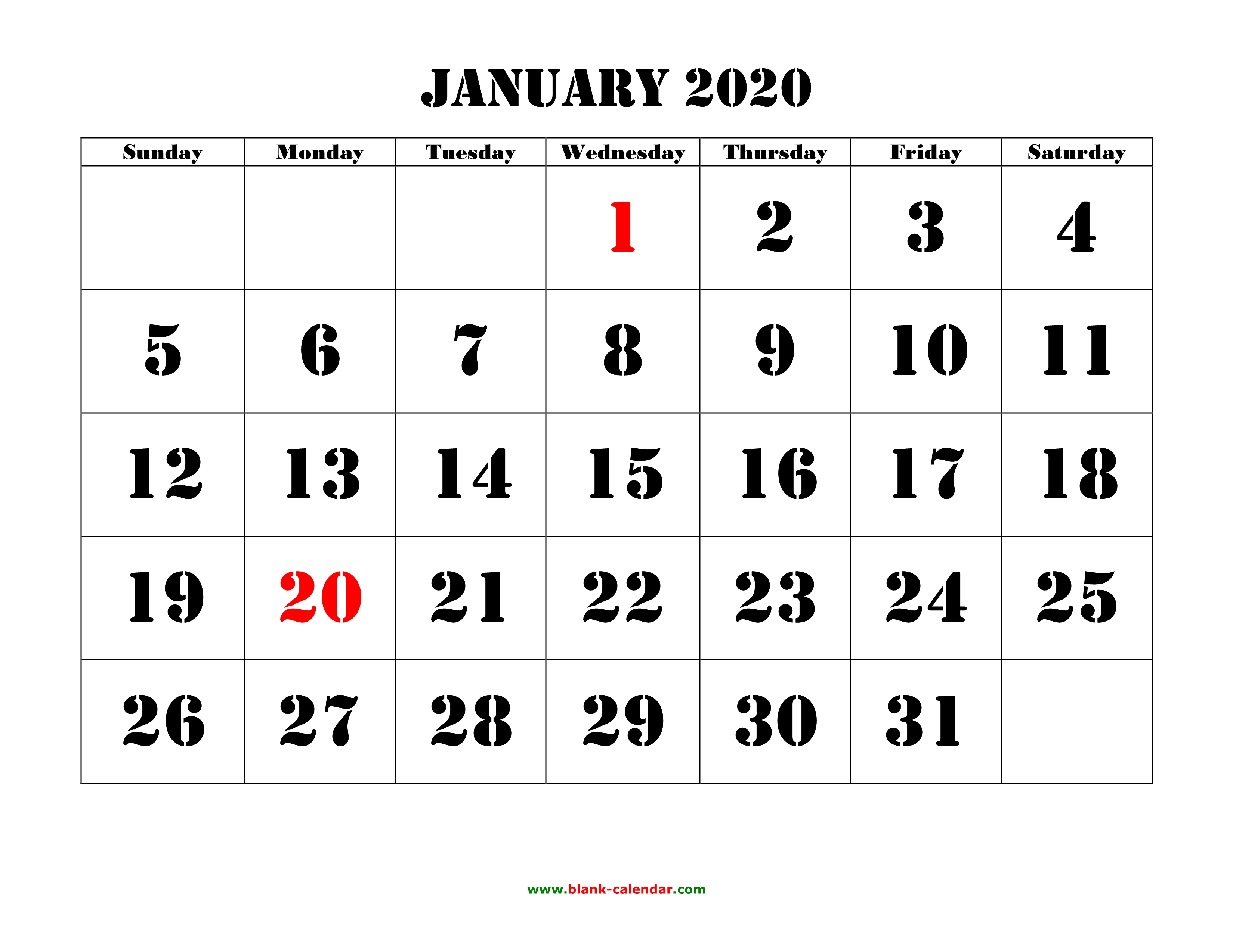 Free Download Printable Calendar 2020, Large Font Design
