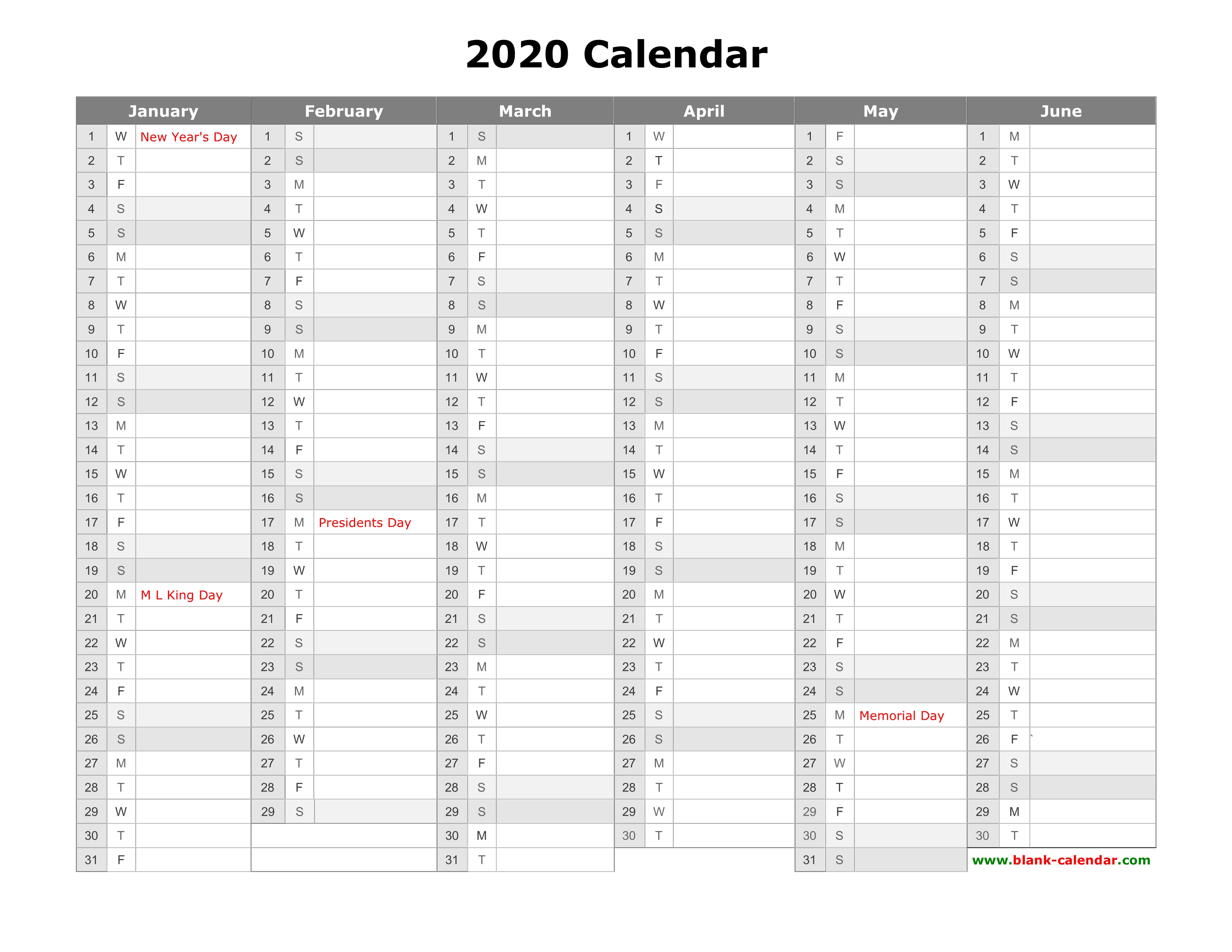Free Download Printable Calendar 2020, Month In A Column