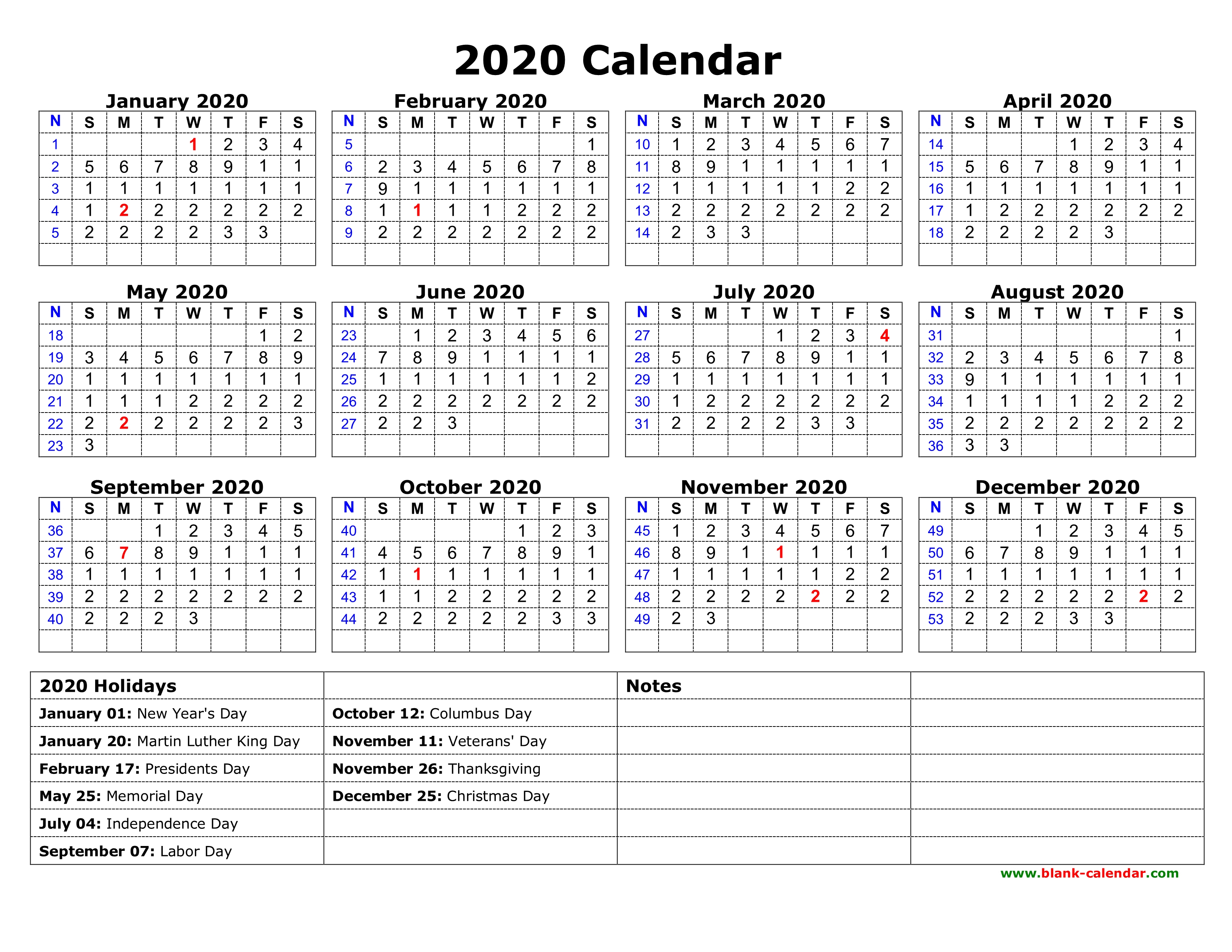 Free Download Printable Calendar 2020 With Us Federal
