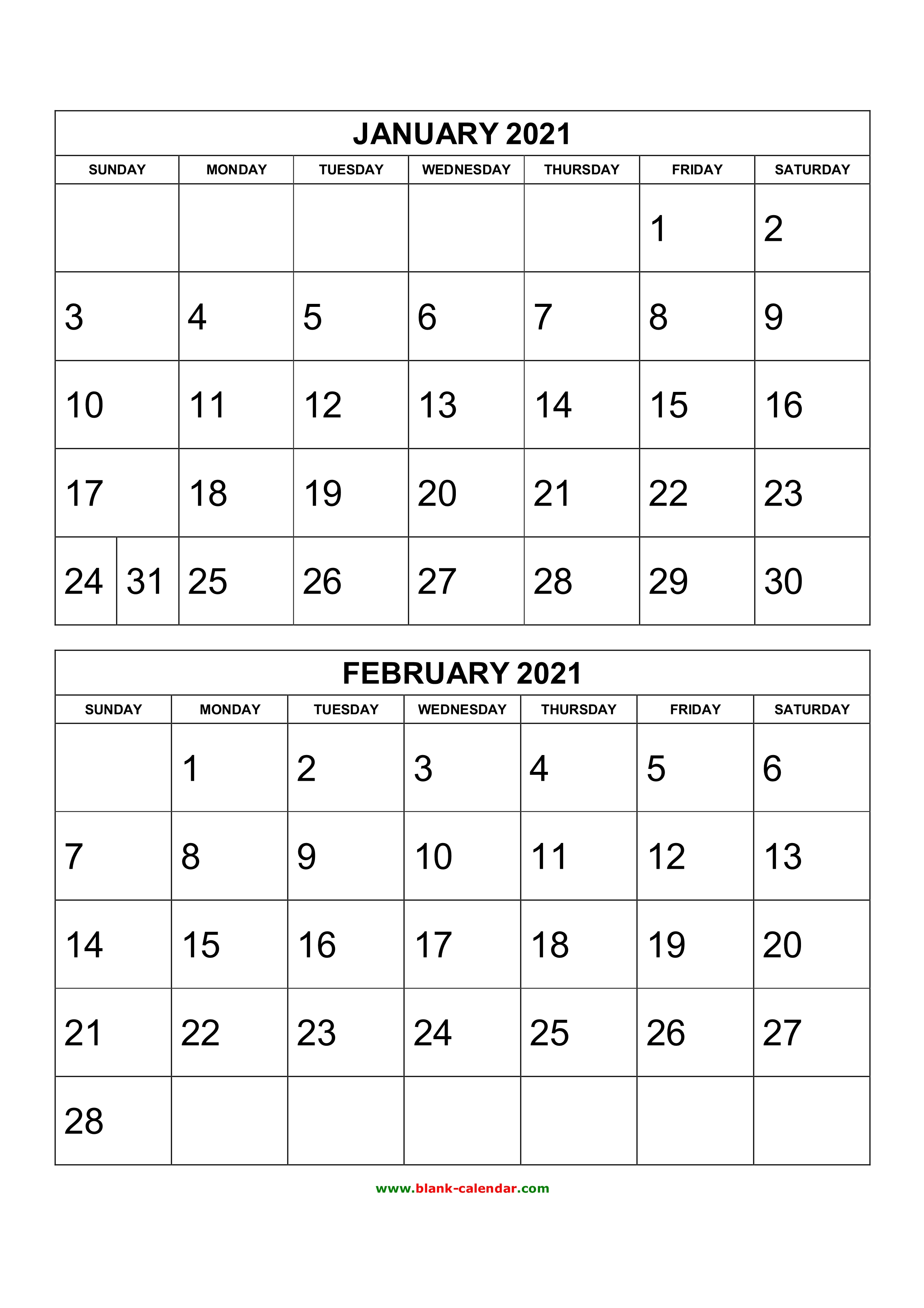 Free 2020 Printable Calendars 2 Months Per Page | Example ...