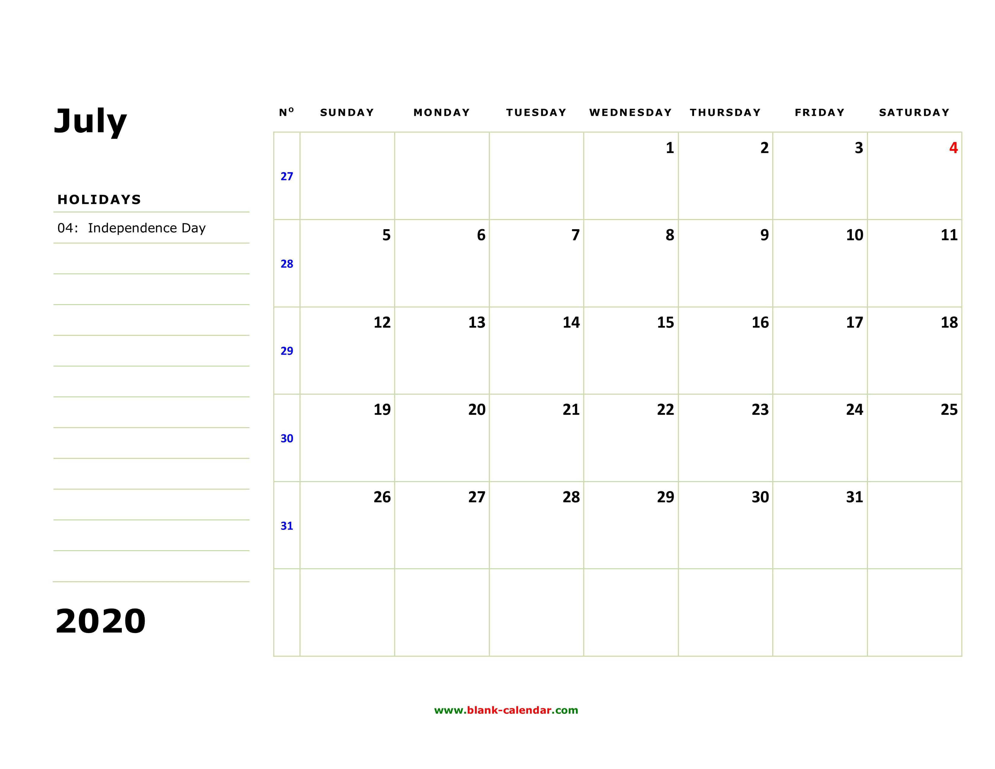 Free Download Printable July 2020 Calendar, Large Box