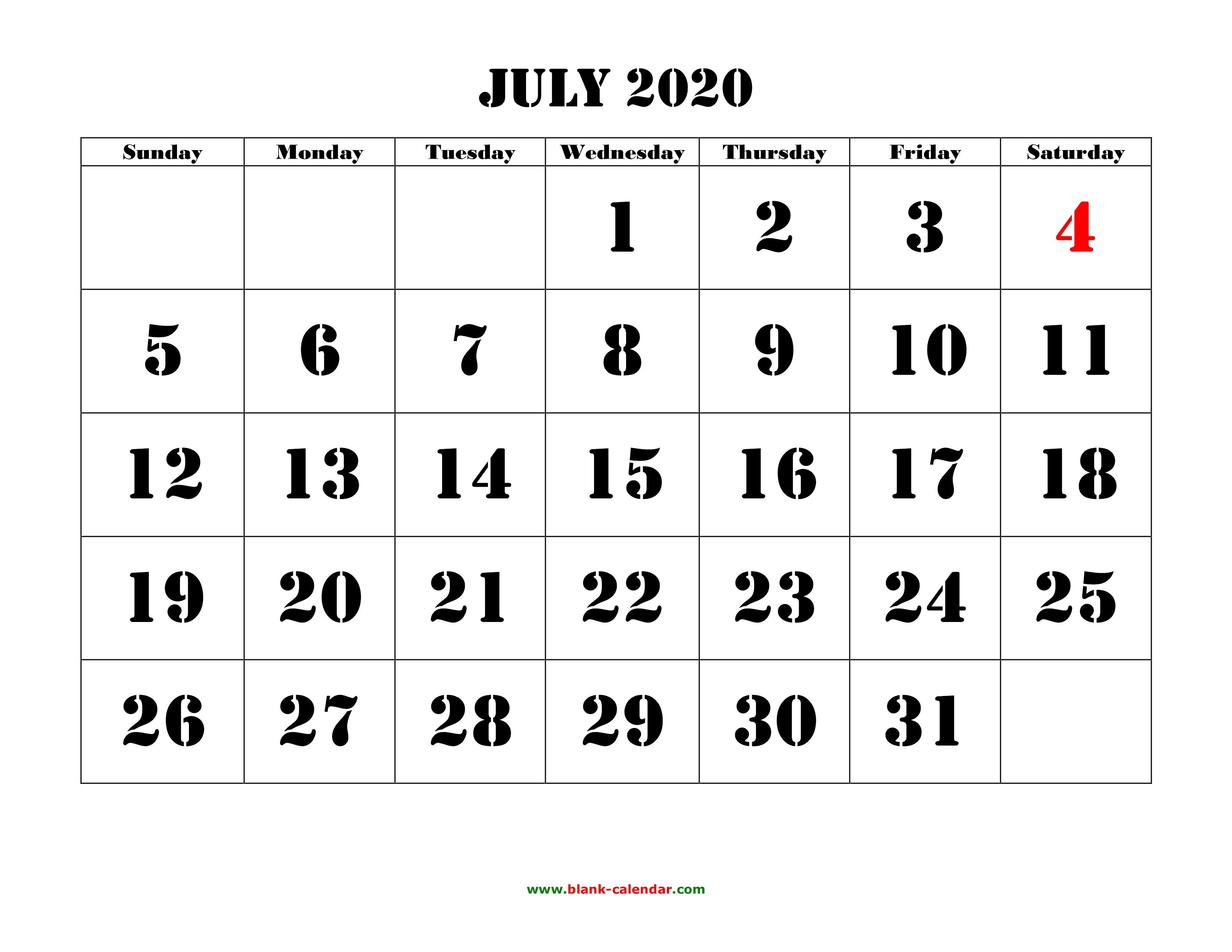 Free Download Printable July 2020 Calendar, Large Font