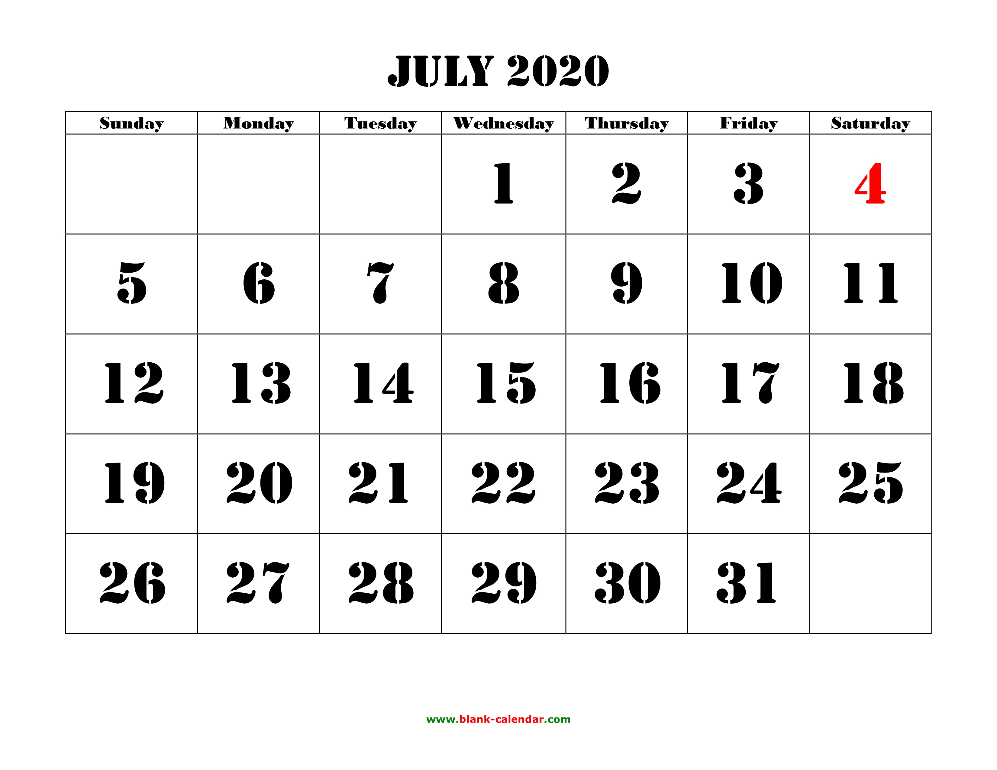 Free Download Printable July 2020 Calendar, Large Font