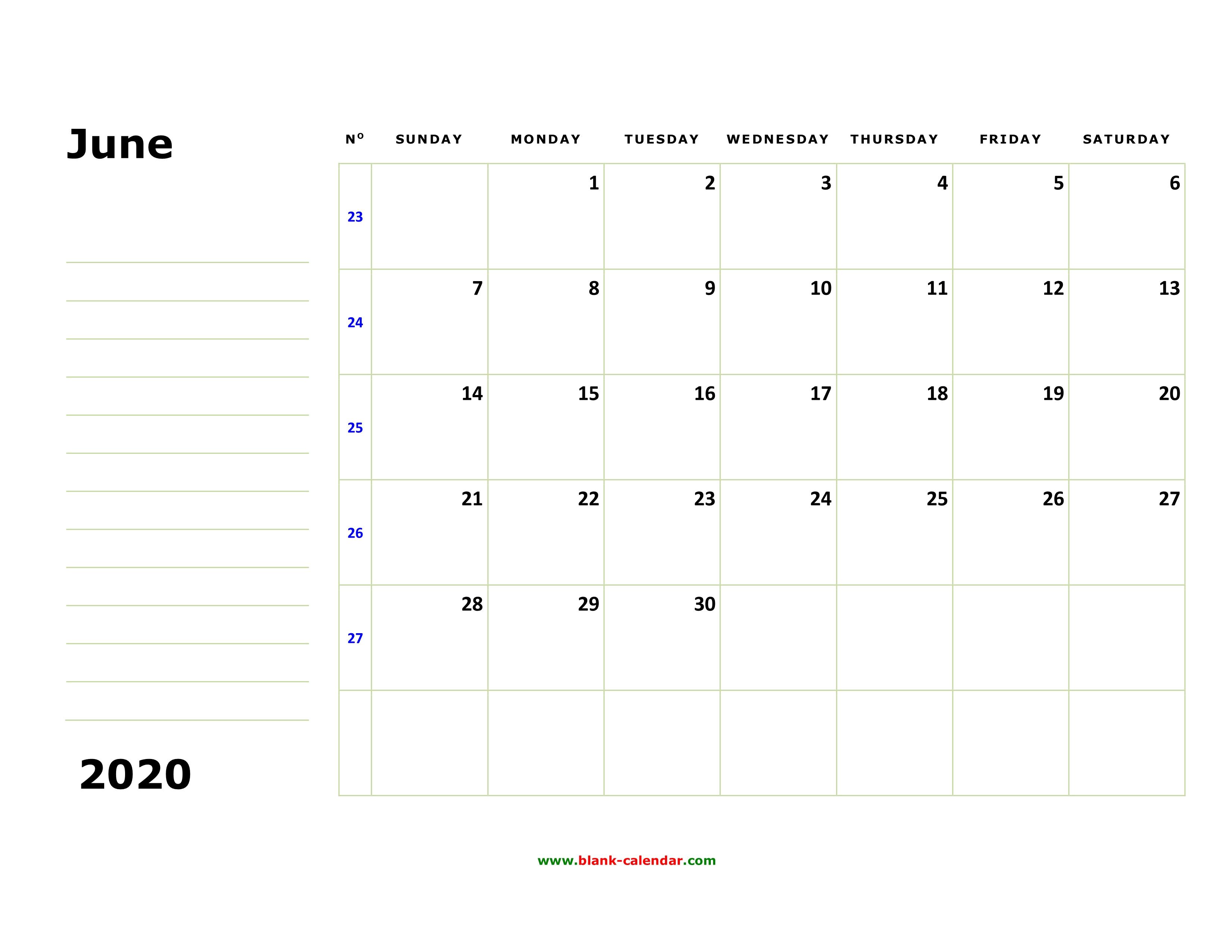 Free Download Printable June 2020 Calendar, Large Box