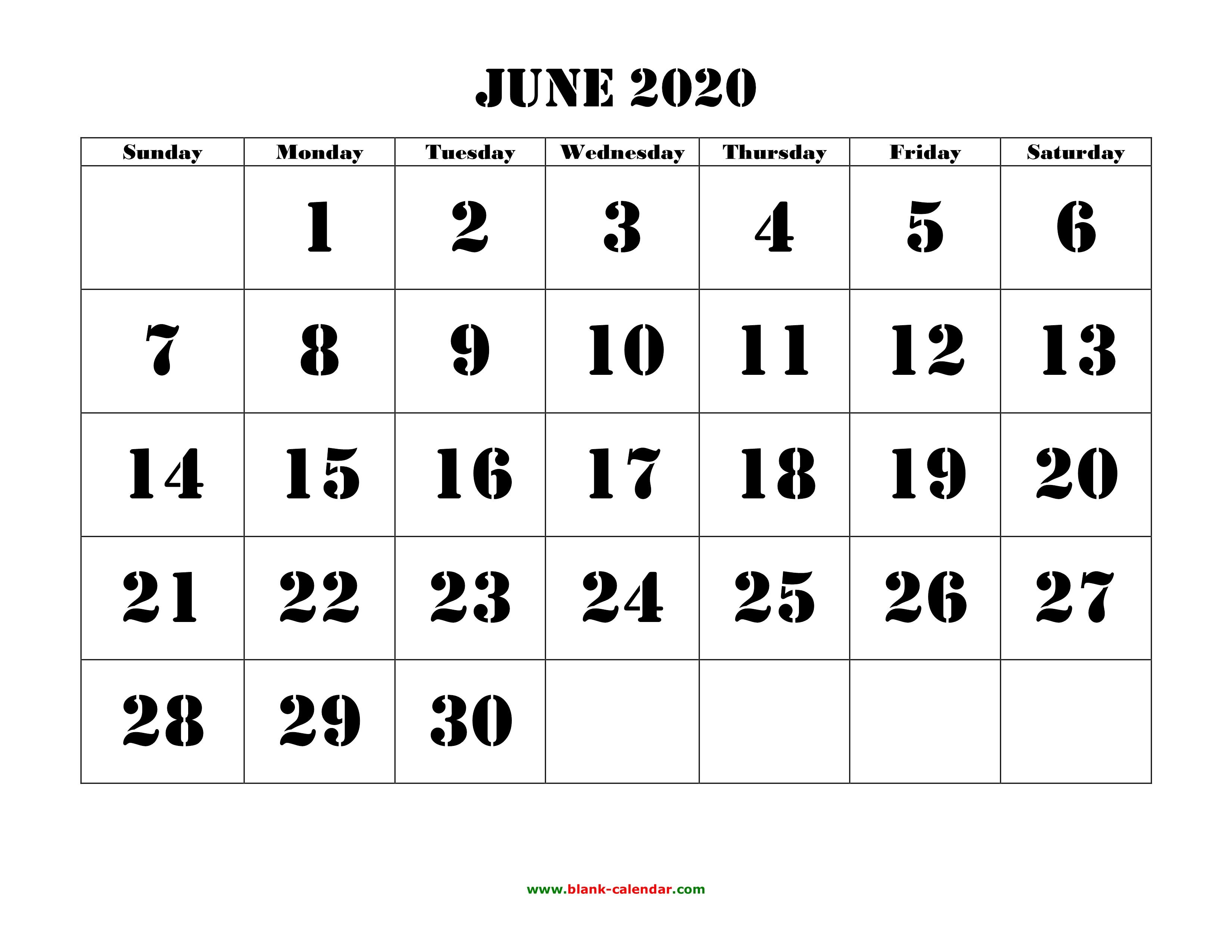 Free Download Printable June 2020 Calendar, Large Font
