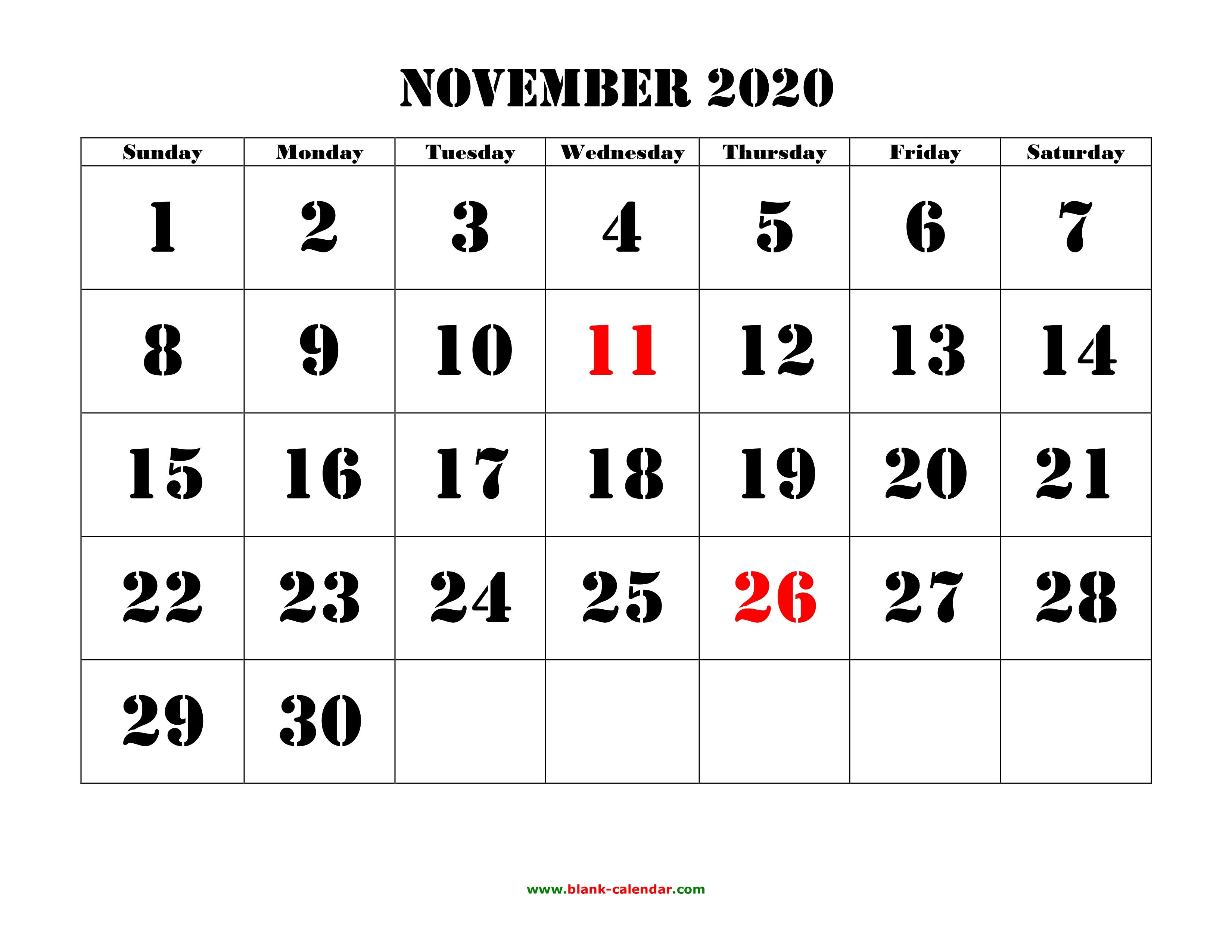 Free Download Printable November 2020 Calendar, Large Font