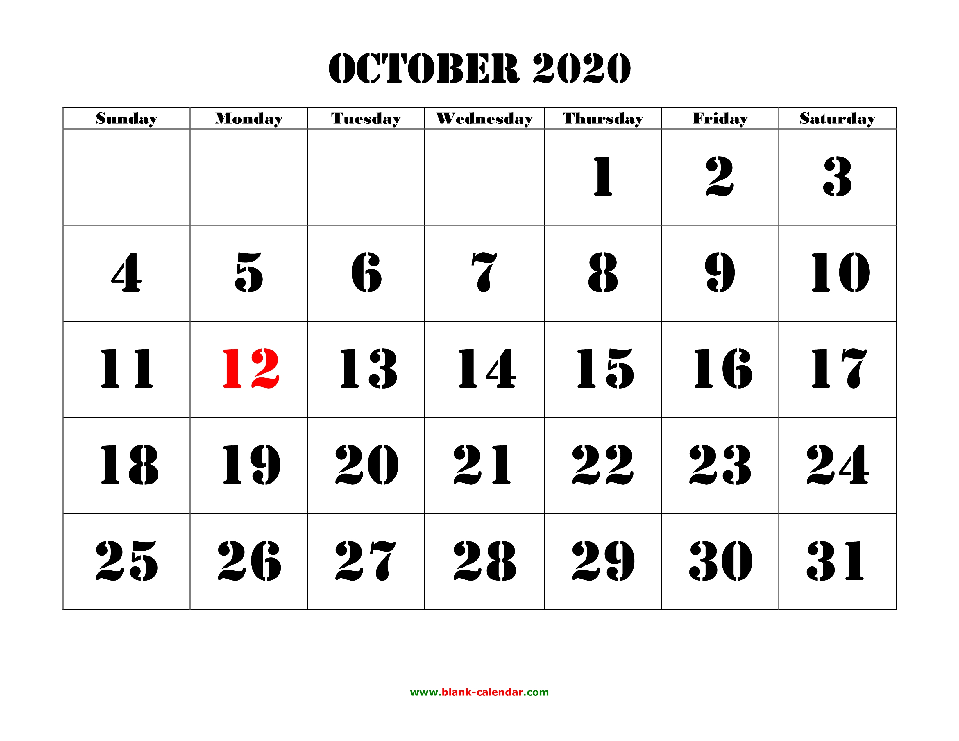 Free Download Printable October 2020 Calendar, Large Font