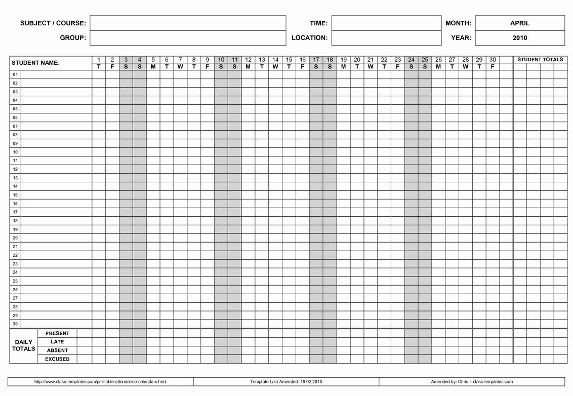 Free Employee Attendance Calendar Employee Tracker Templates