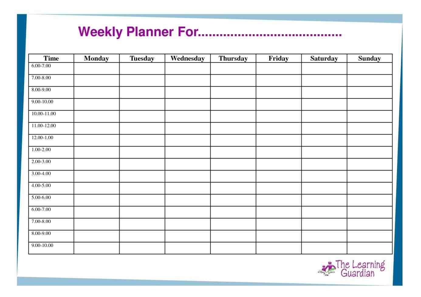 Free Hourly Schedule Template Daily Online Planner Employee
