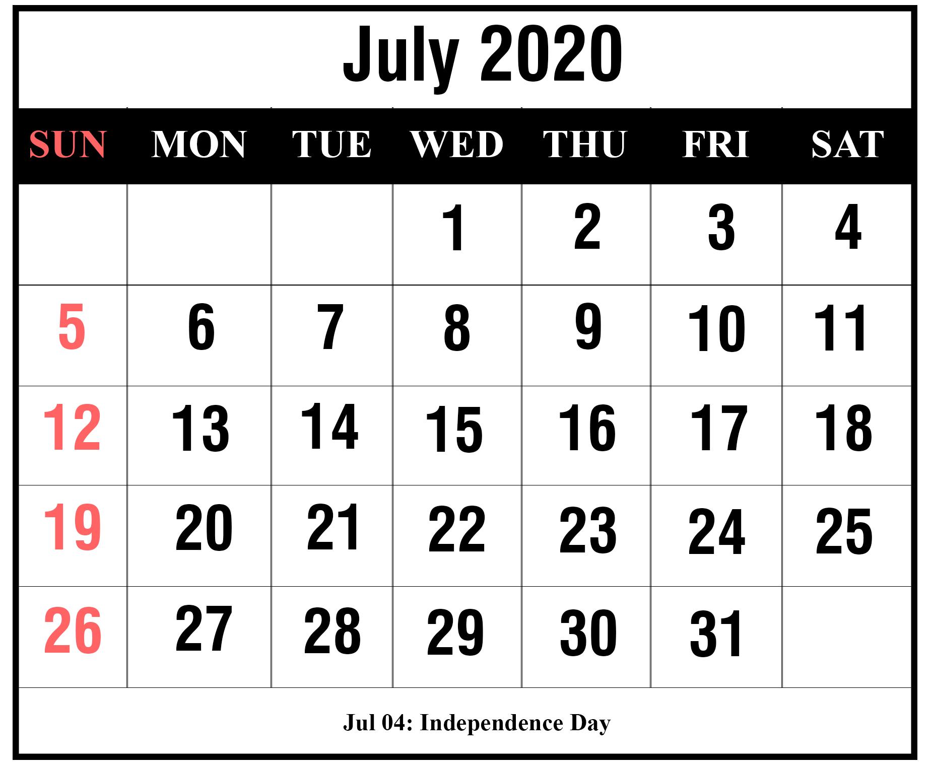 Free July 2020 Printable Calendar Templates [Pdf, Excel