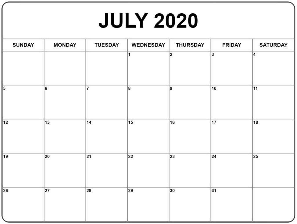 Free July 2020 Printable Calendar Templates [Pdf, Excel