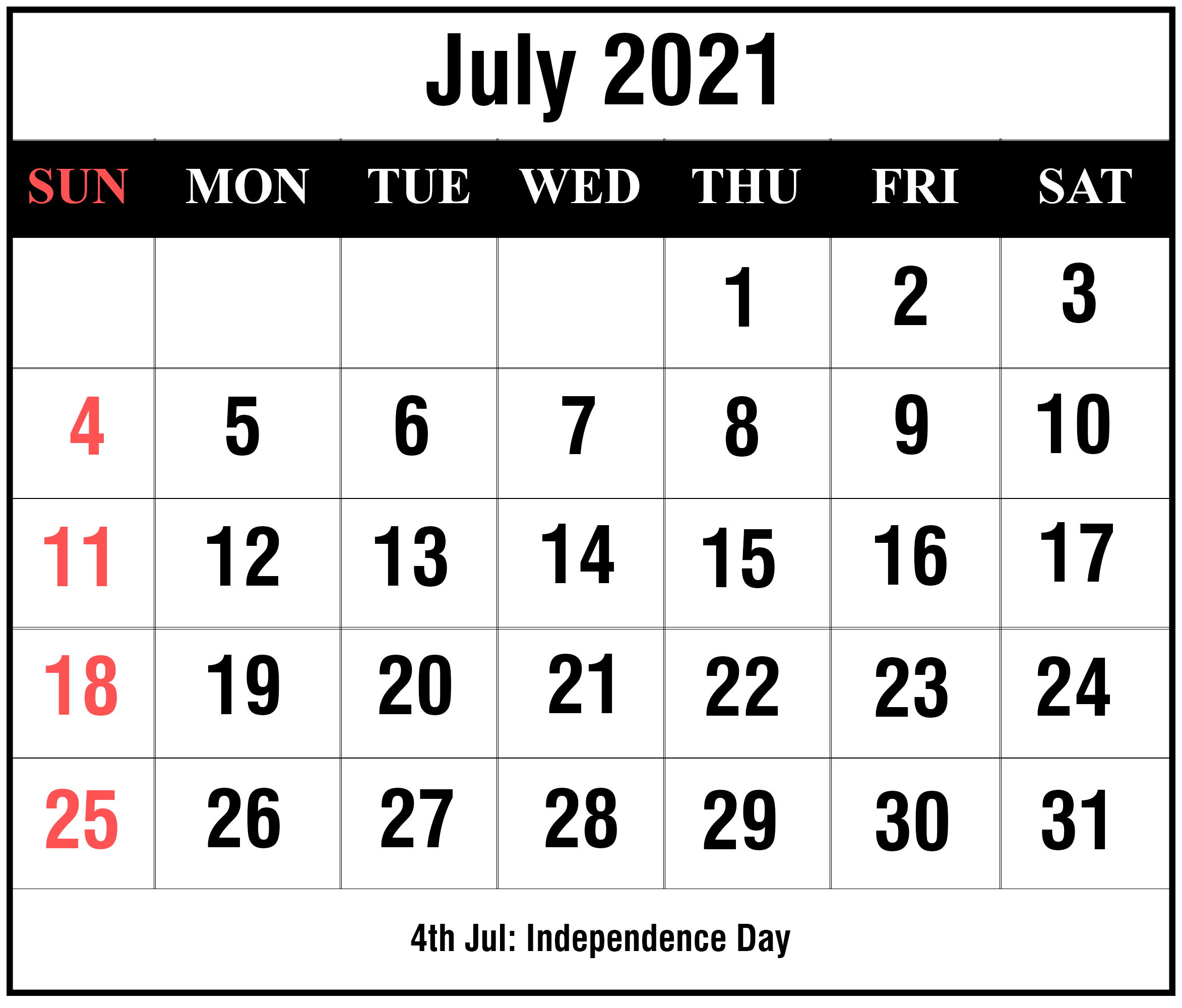 Free July 2021 Printable Calendar Template In Pdf, Excel