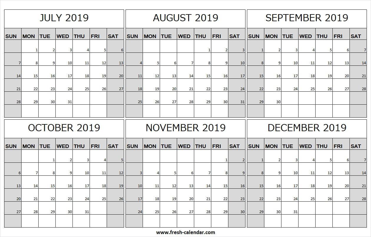 Free July December 2019 Calendar Free | Online Calendar