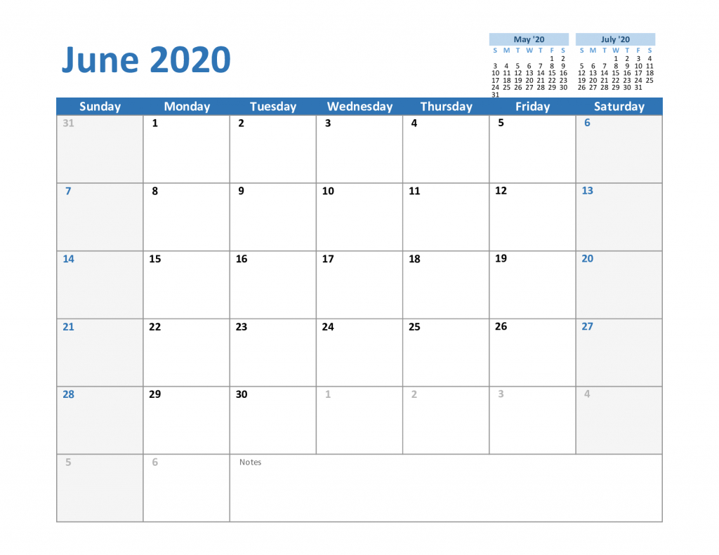 Free June 2020 Printable Calendar In Pdf, Word, Excel