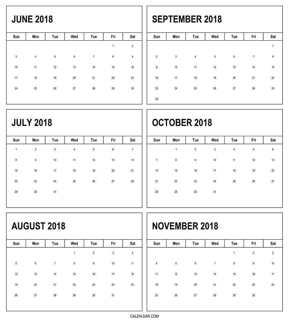 Free June To November 2018 Calendar 6 Monthly Pdf Template