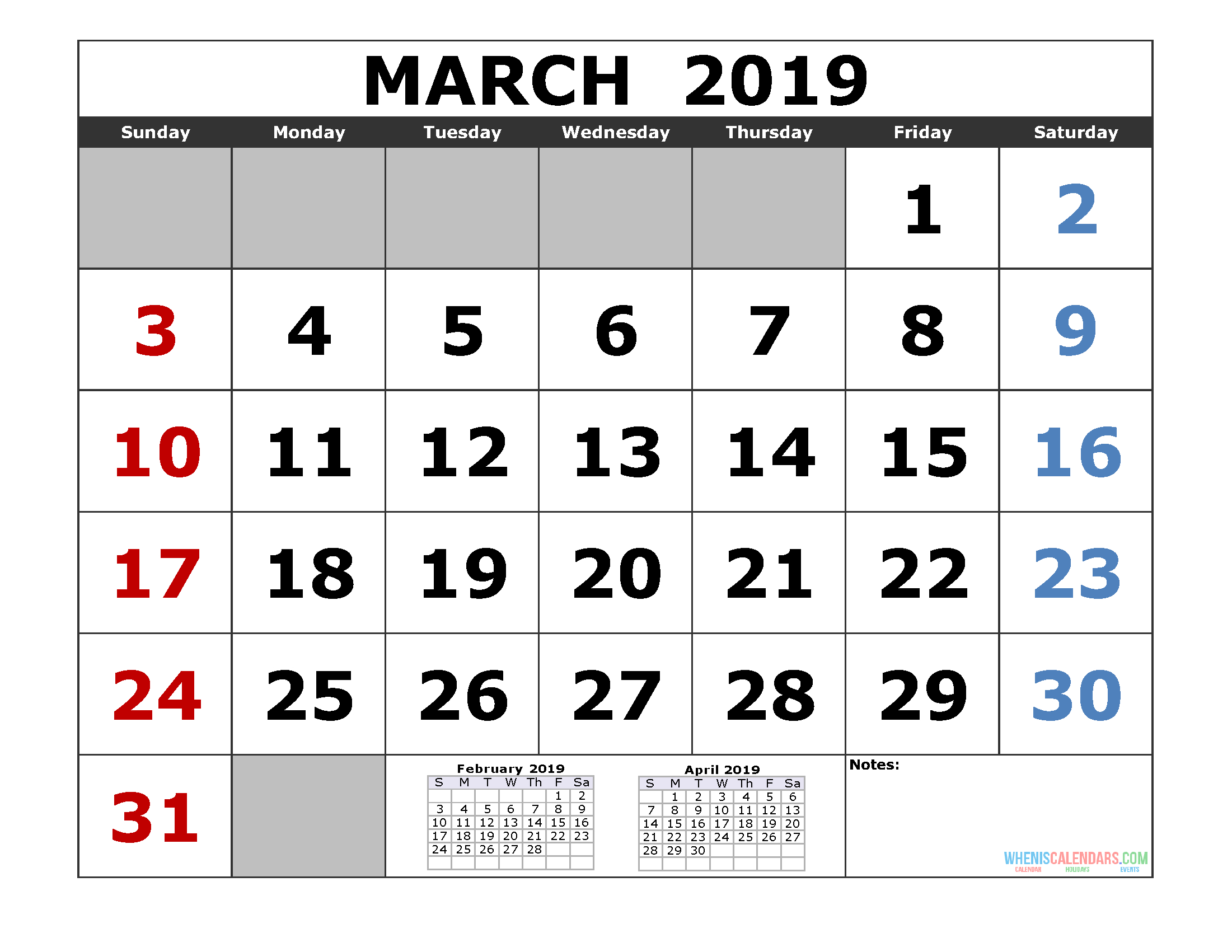 Free March 2019 Printable Calendar Templates [Us. Edition