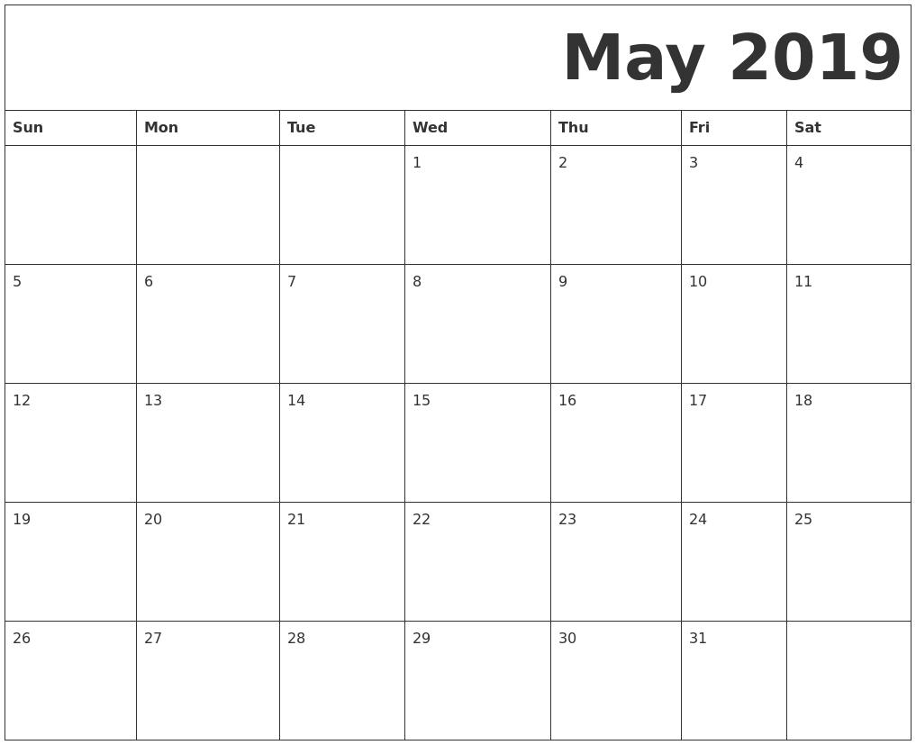 Free May 2019 Calendar Printable Templates - Download Pdf