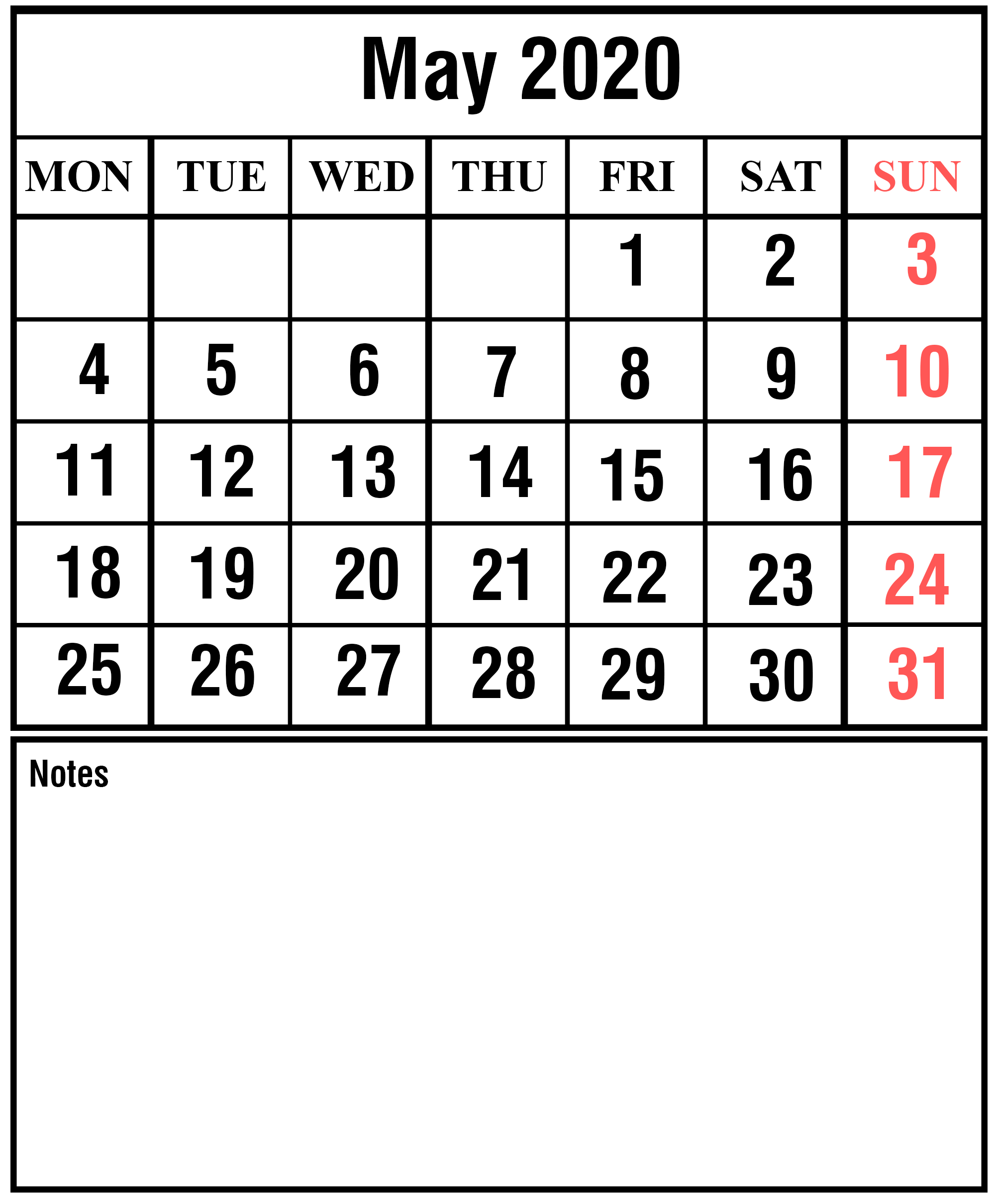 Free May 2020 Printable Calendar Template With Holidays [Pdf