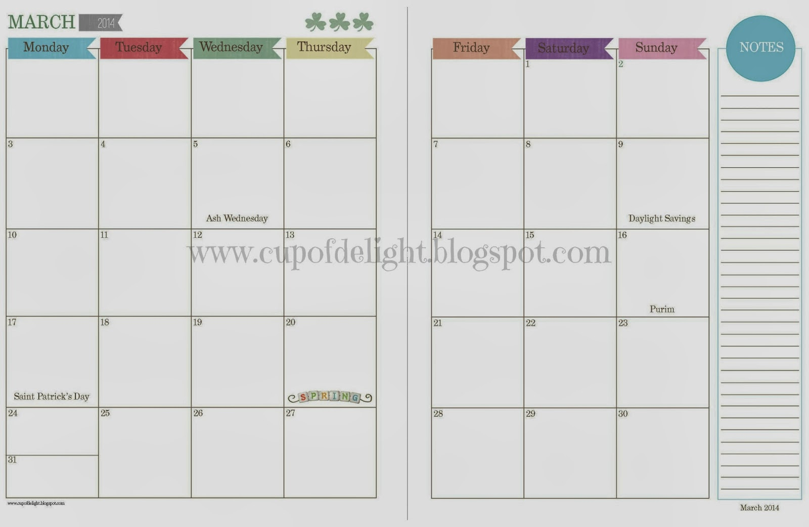 Free Monthly Calendar Pages - Calendar