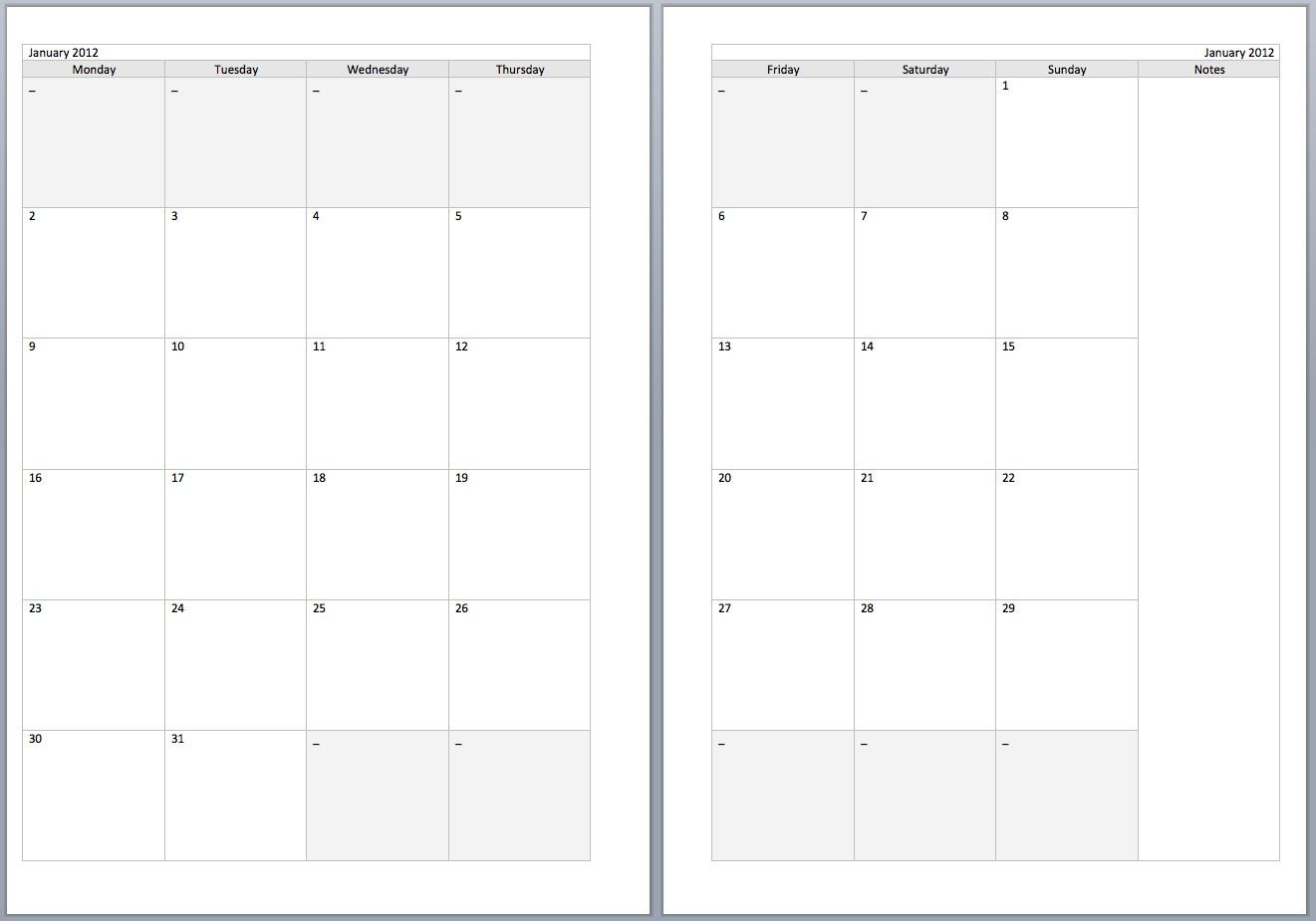 Free Monthly Filofax Diary Templates For A5 And Personal