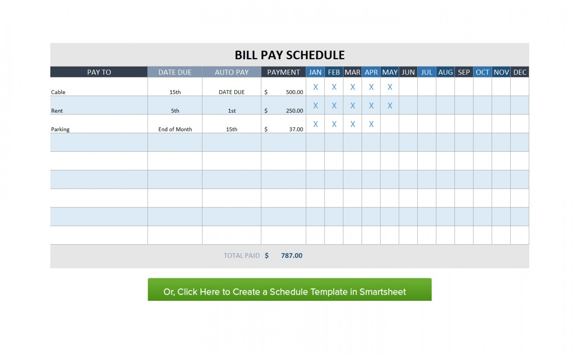 Free Monthly Schedule Ate Bill Planner Excel With Payment