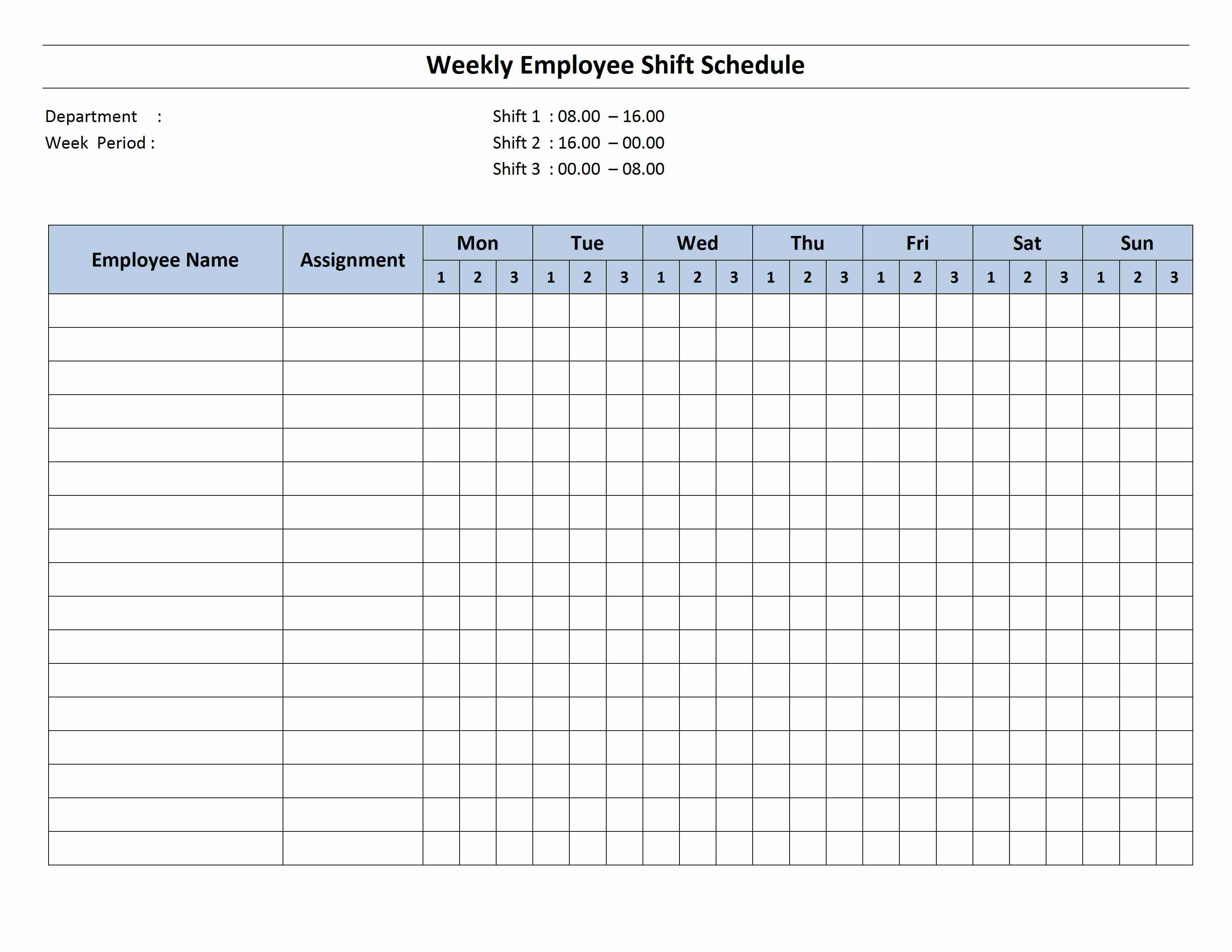 Free Monthly Work Schedule Template   Weekly Employee 8 Hour