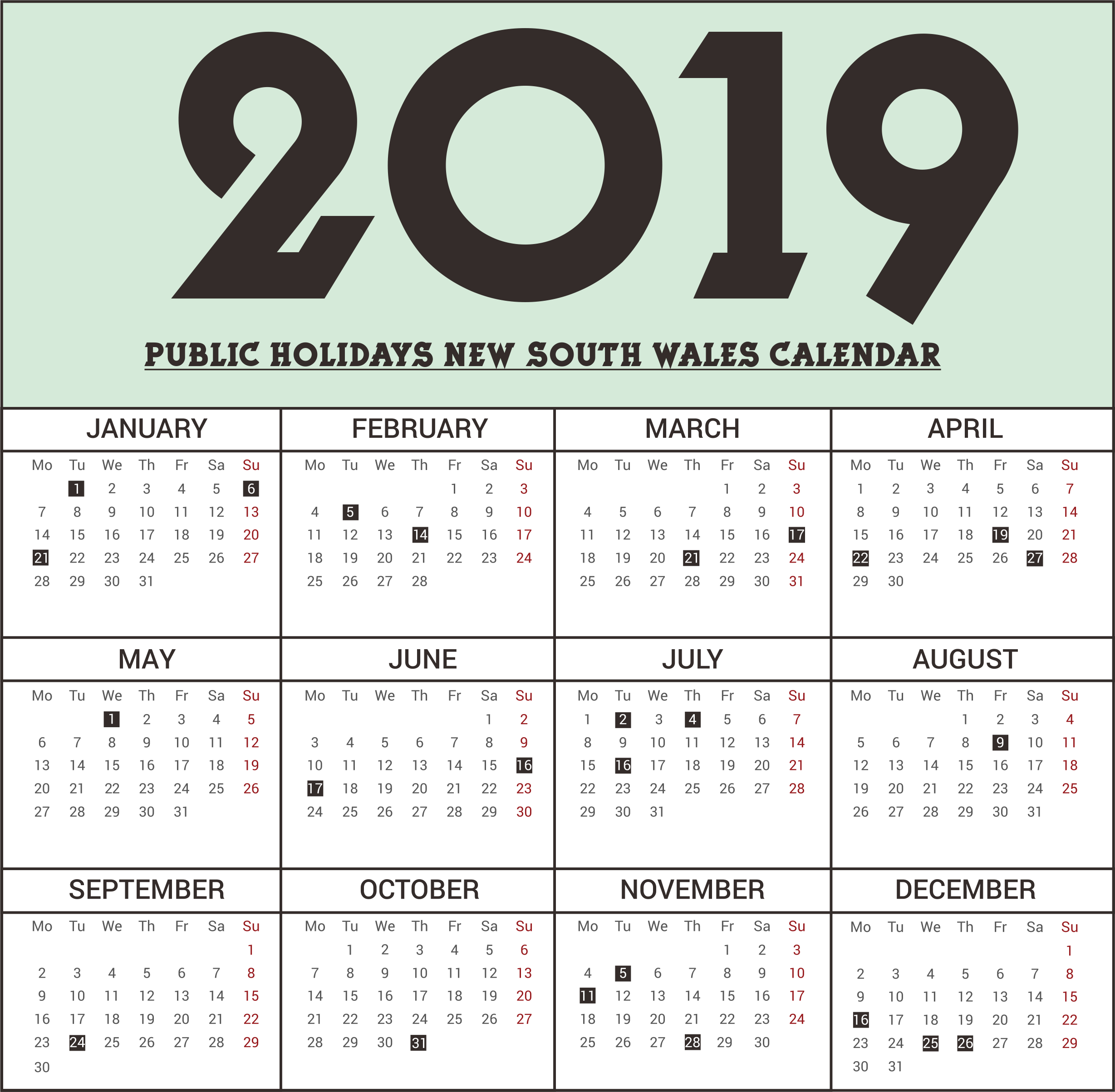 Free Nsw (New South Wales) Public Holidays 2019 Calendar