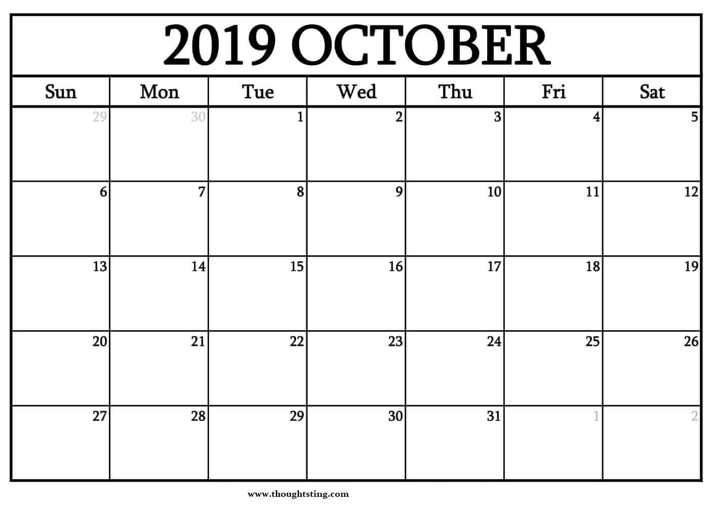 Free October 2019 Calendar With Holidays - Free Printable