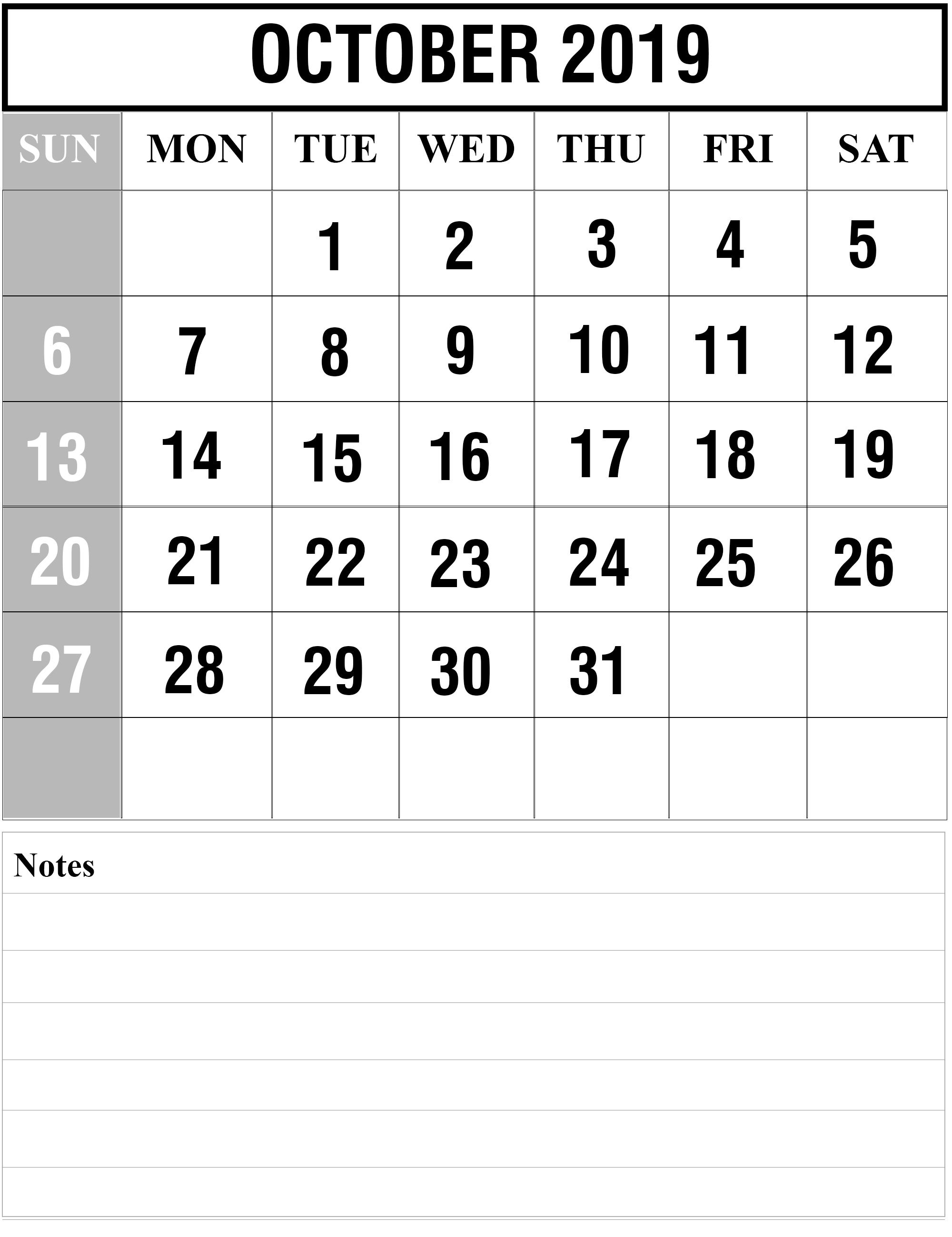 Free October 2019 Printable Calendar Blank Templates