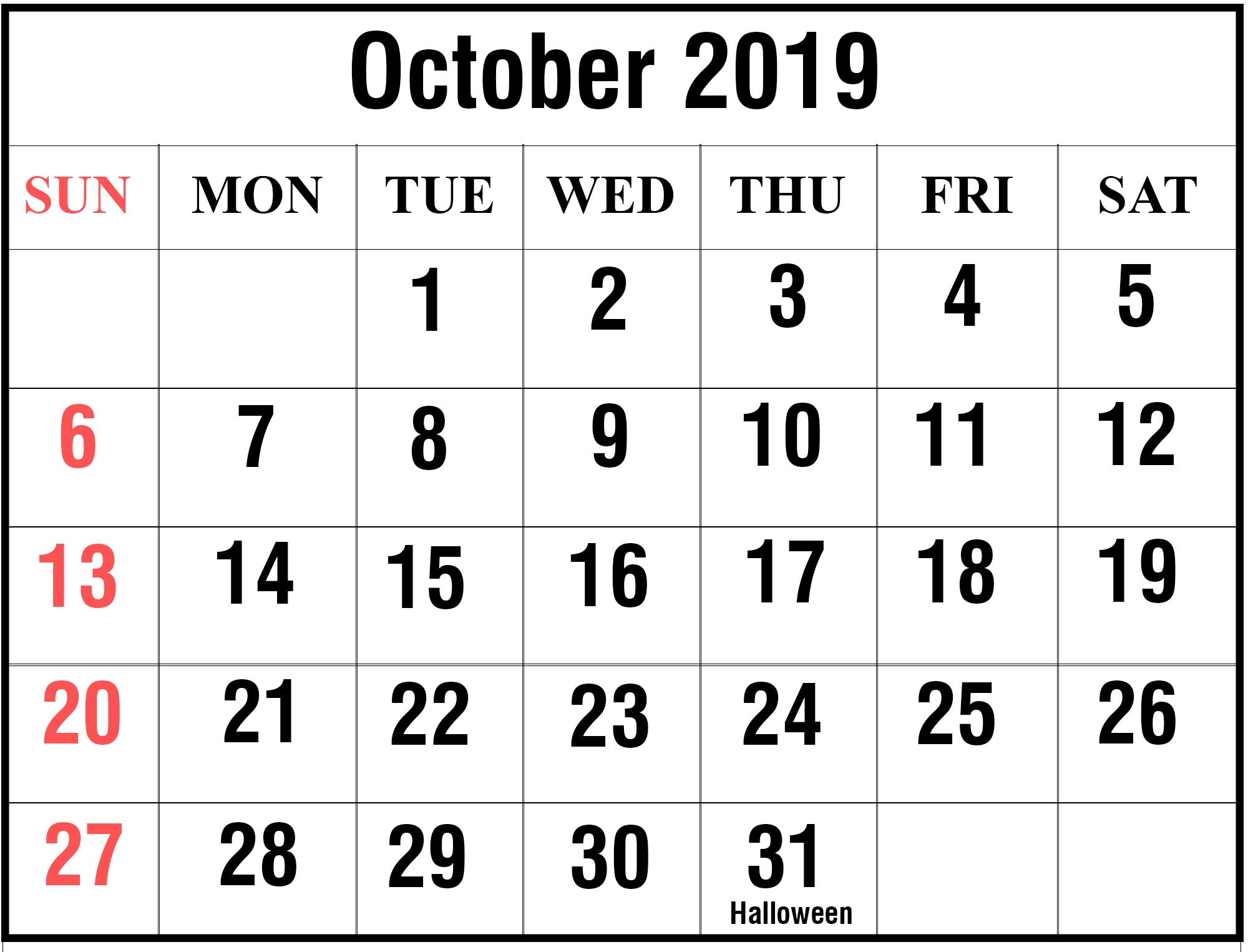 Free October 2019 Printable Calendar Blank Templates