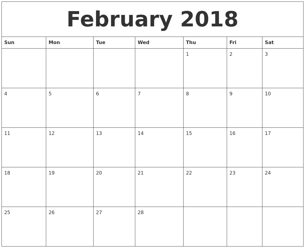 Free Printable 2018 Monthly Calendar – Printall