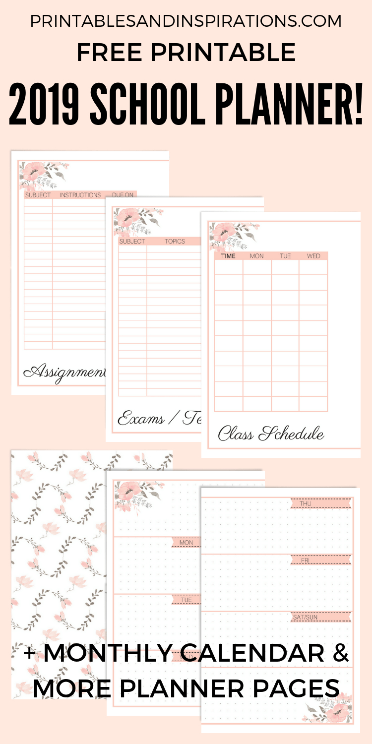 Free Printable 2019-2020 Planner For School (Updated
