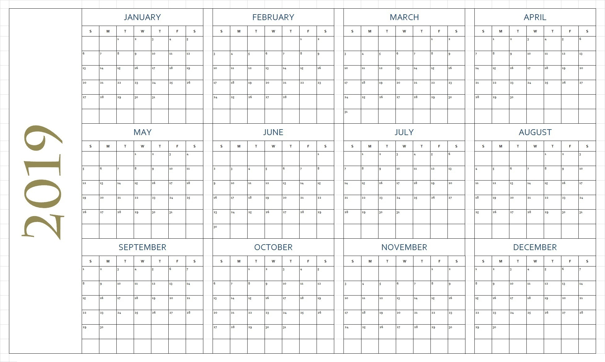 Free Printable 2019 Calendar Template Blank Download