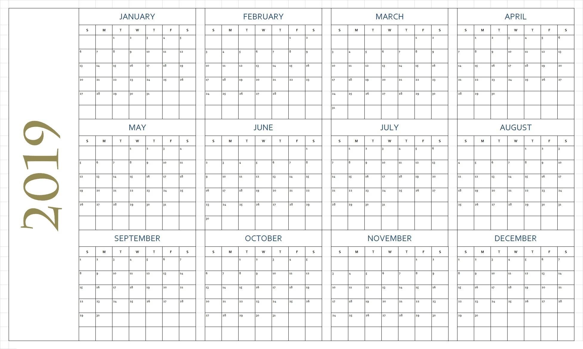 Free Printable 2019 Calendar Template Blank Download