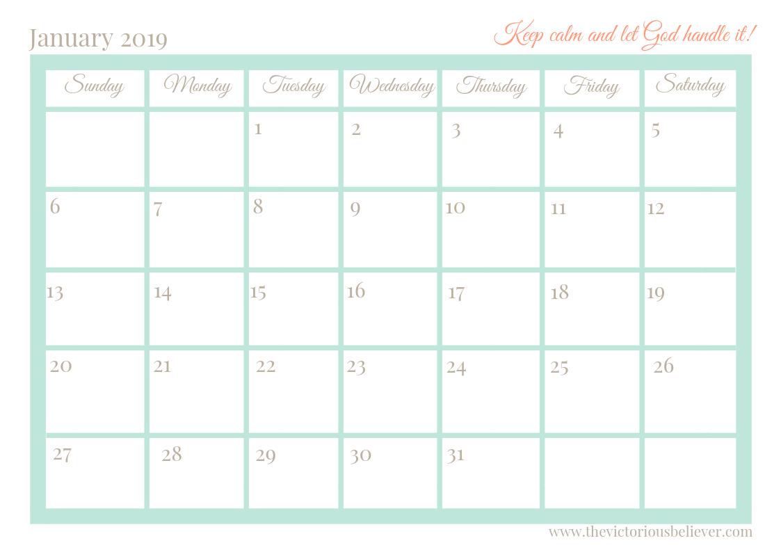 Free Printable 2019 Christian Calendar - Victorious