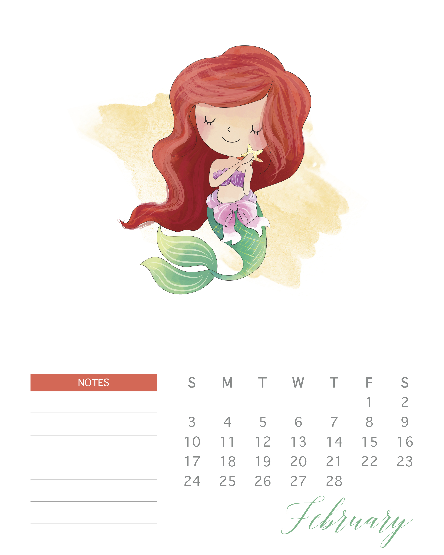 Free Printable 2019 Watercolor Princess Calendar - The