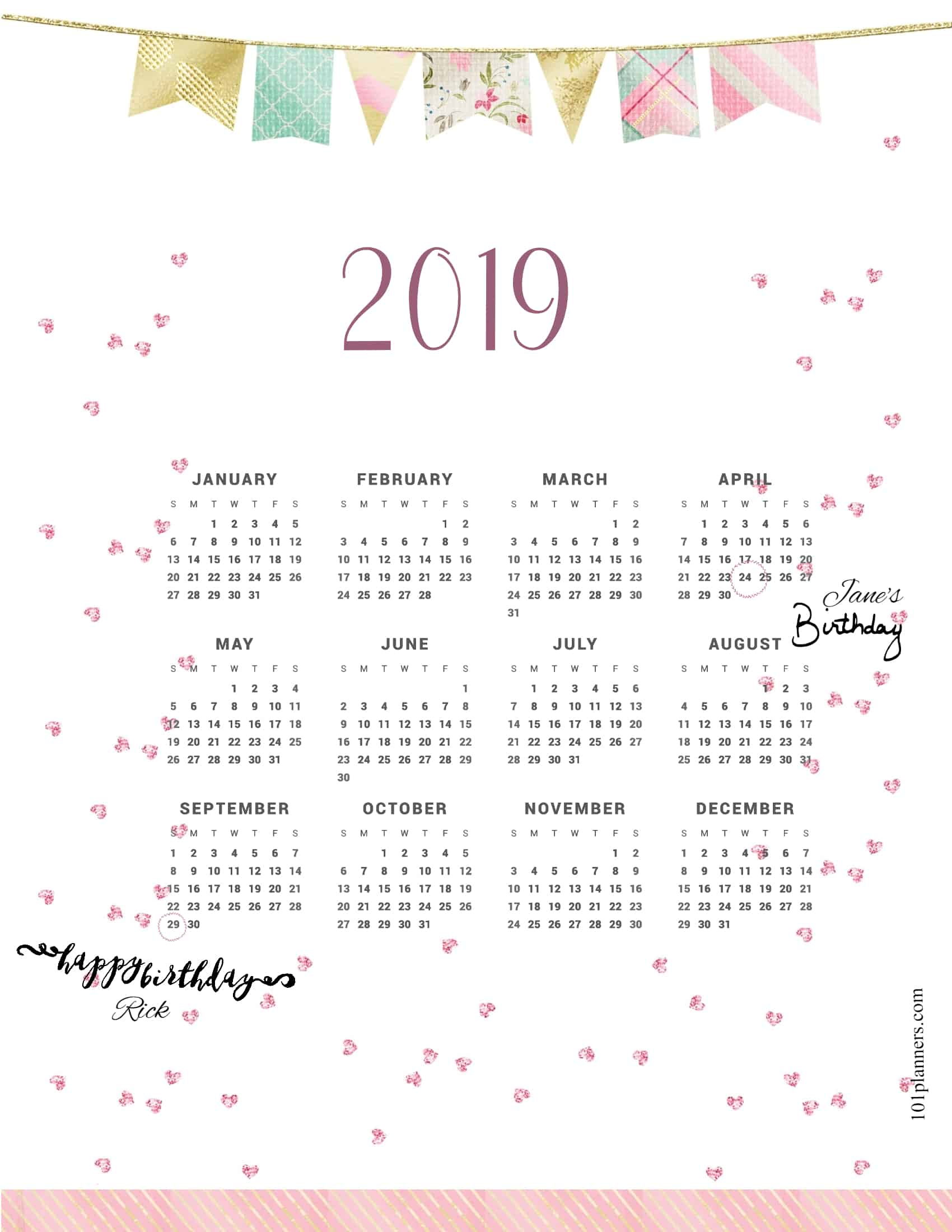 Free Printable 2019 Yearly Calendar At A Glance | 101