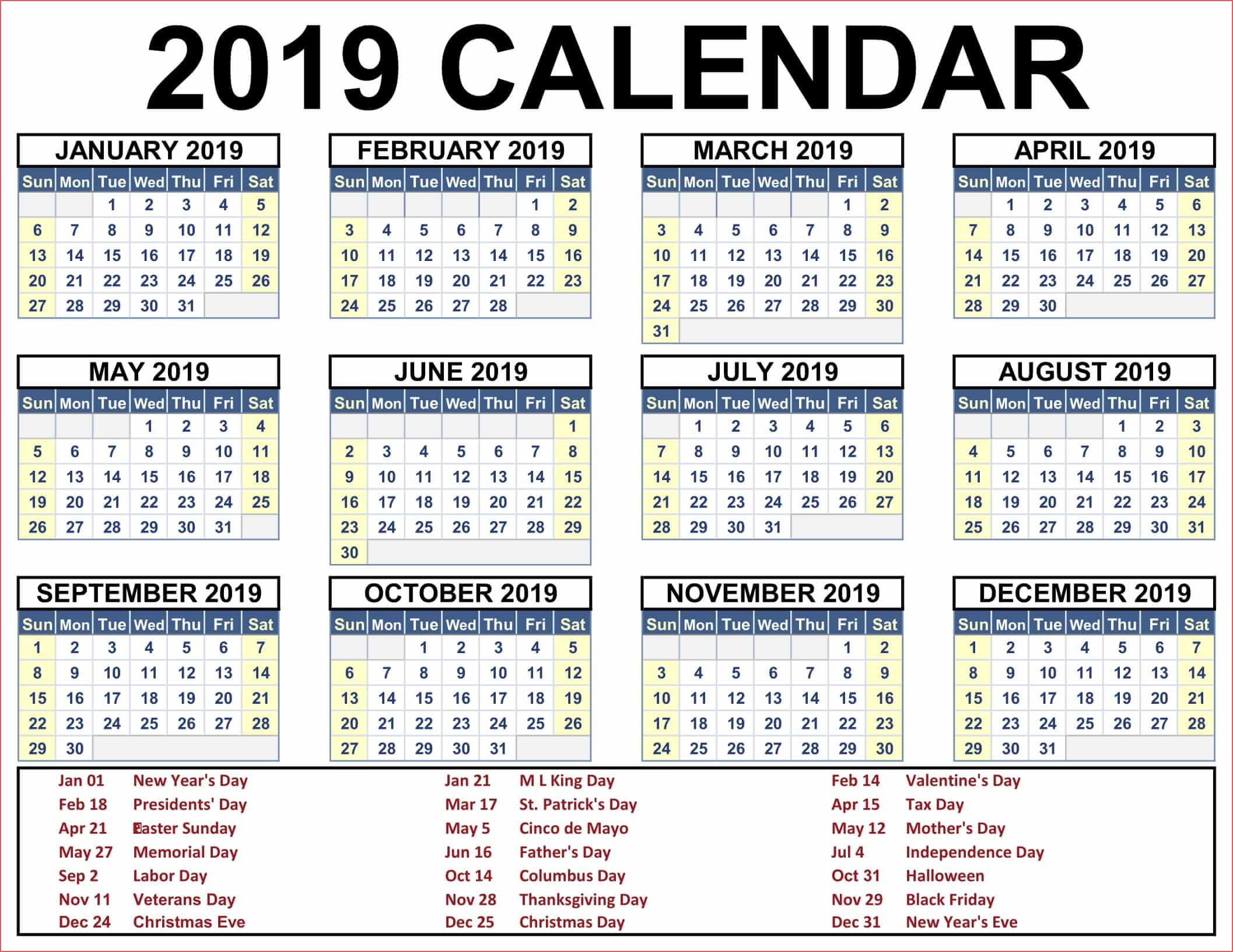 Free Printable 2020 Calendar Canada