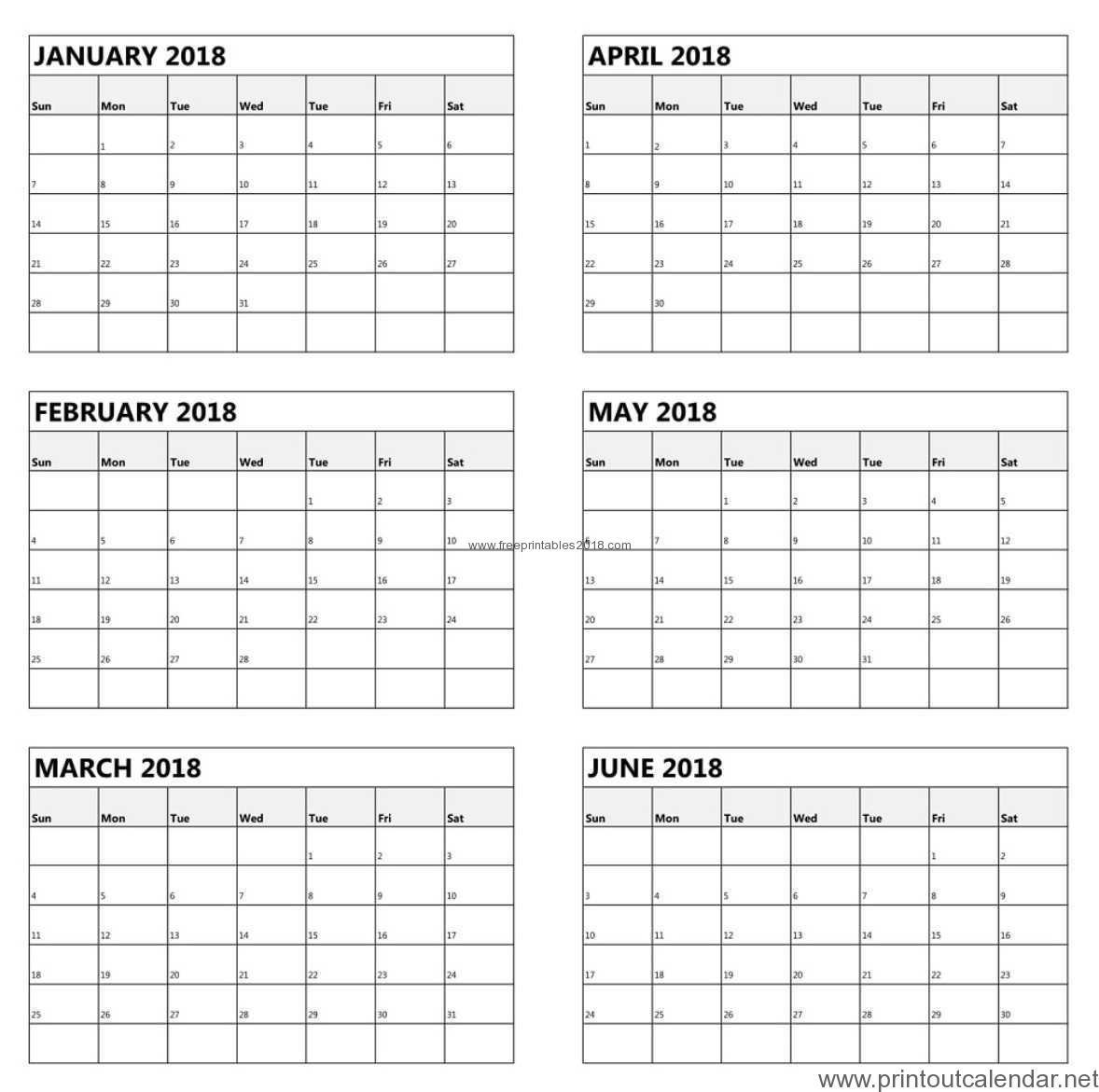 Free Printable 6 Month Calendar 2019 | Free Printables 2019