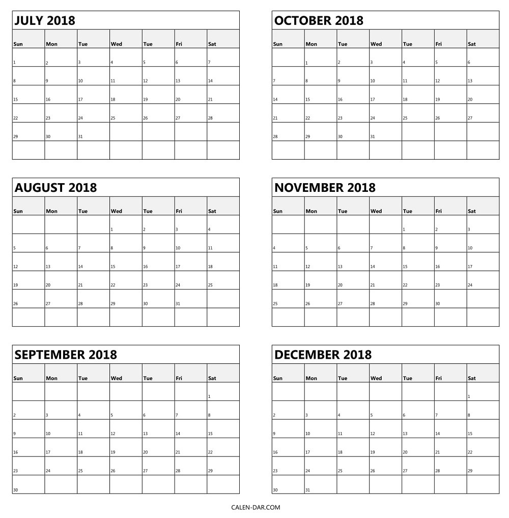 Free Printable 6 Month Calendar Blank Calendar Template | Isacl